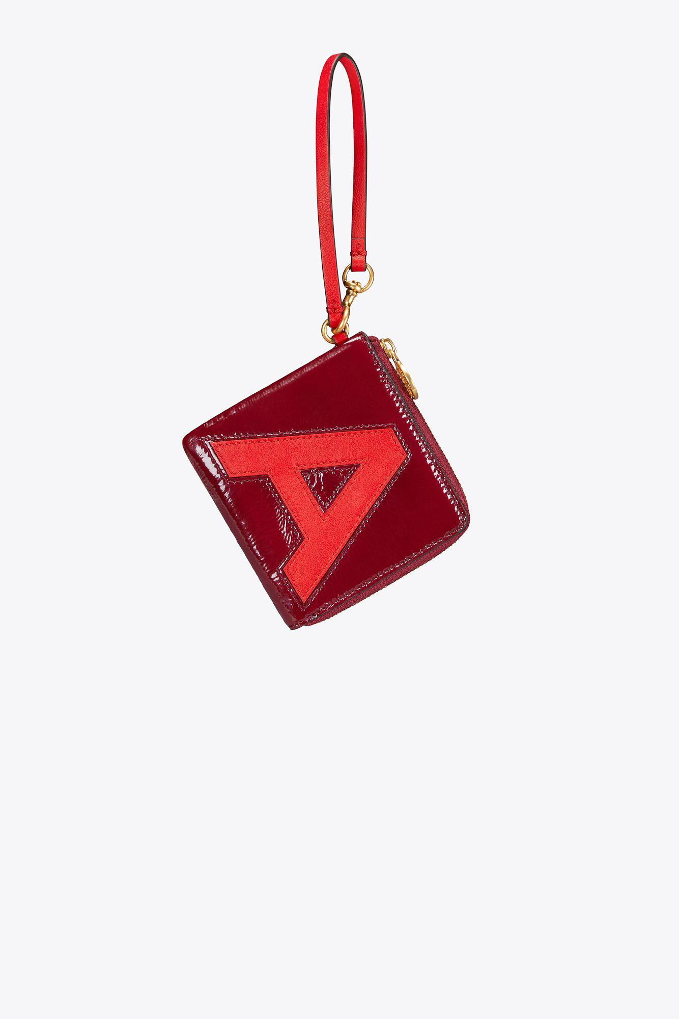 finest selection aa906 06dde Tory Burch Monogram Card Case Key Ring in Red - Lyst