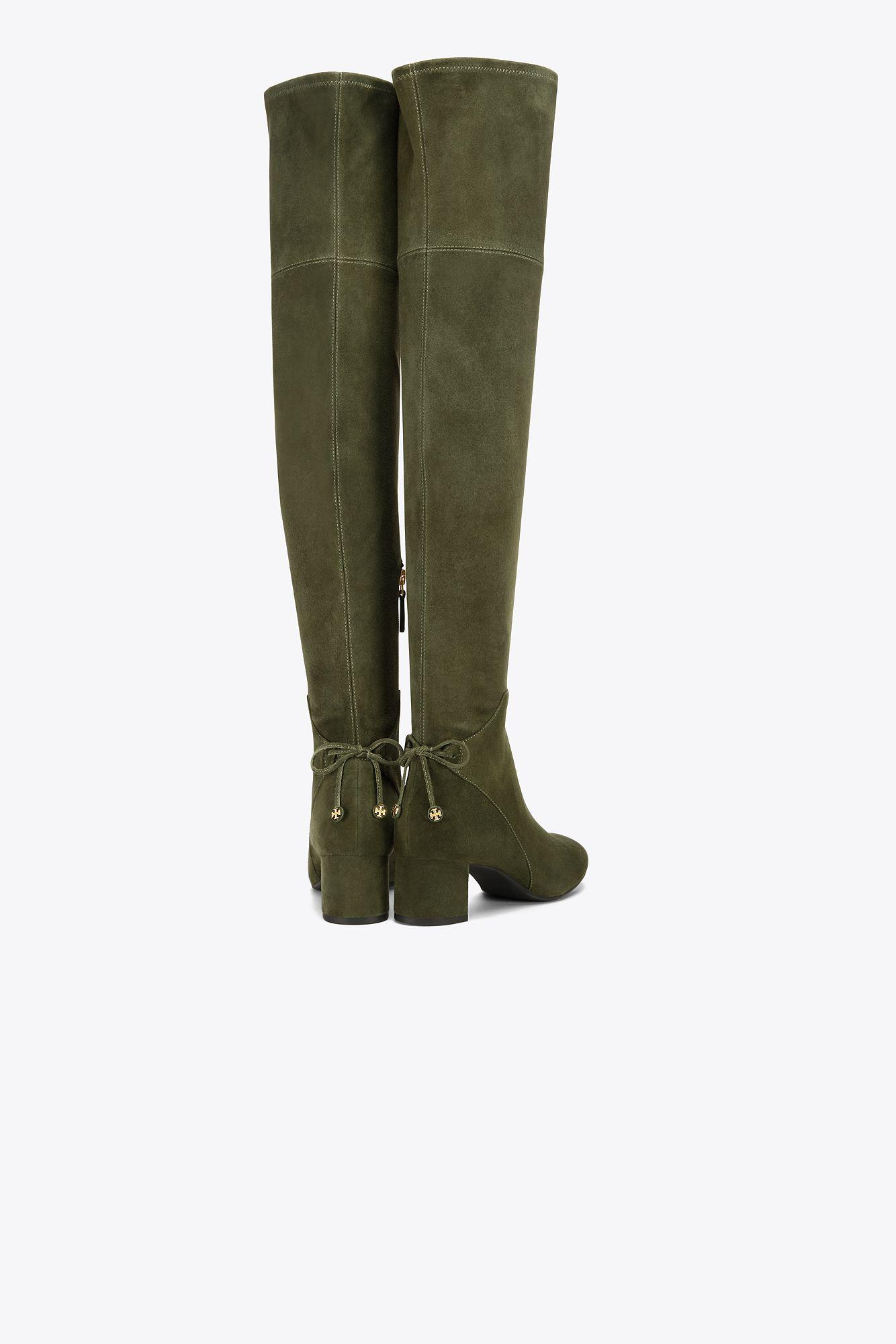 4ac3ca997af Lyst - Tory Burch Laila Suede Over-the-knee Boot in Green