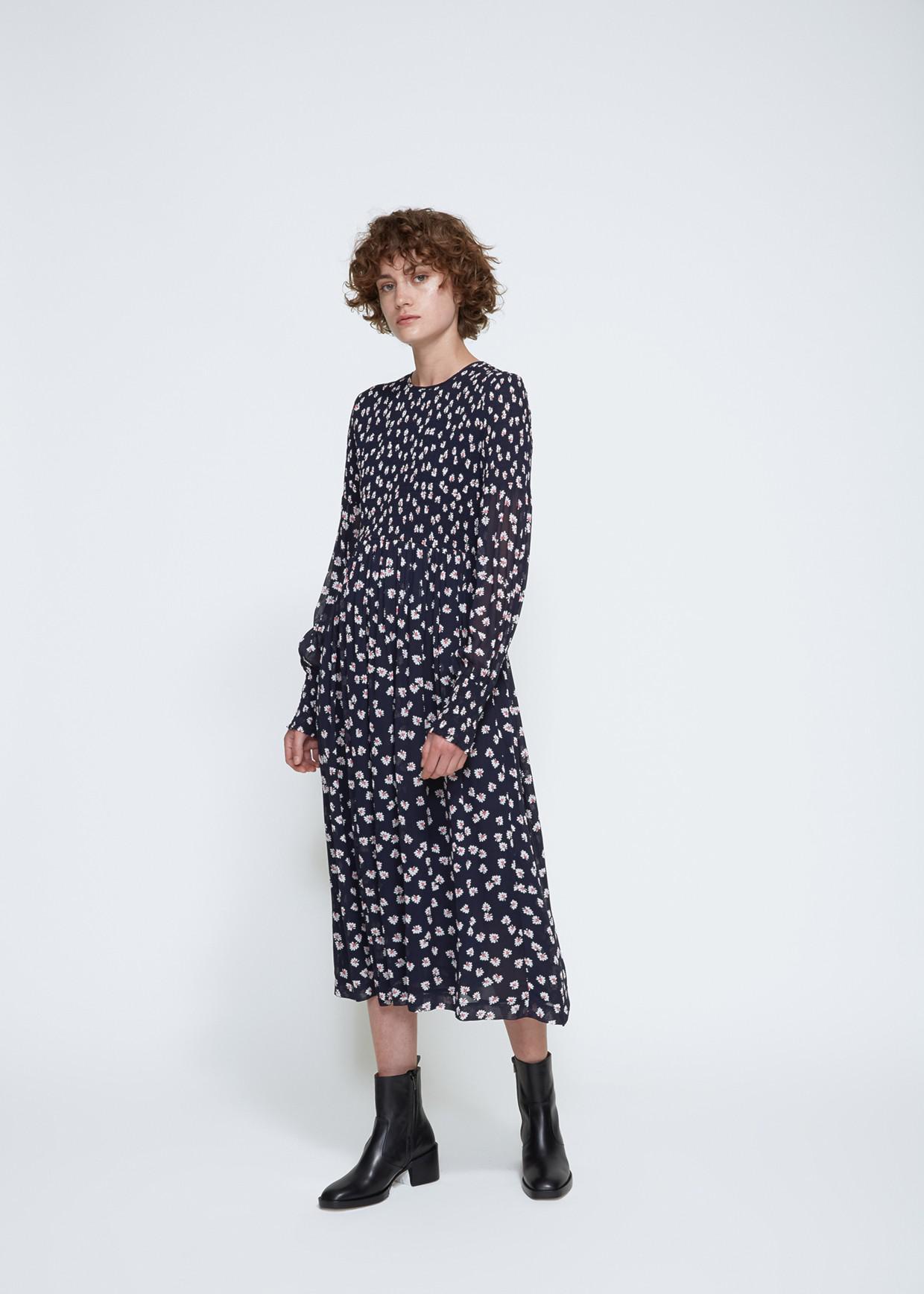 80a101c7 Ganni Long Sleeve Rometty Georgette Dress in Blue - Lyst