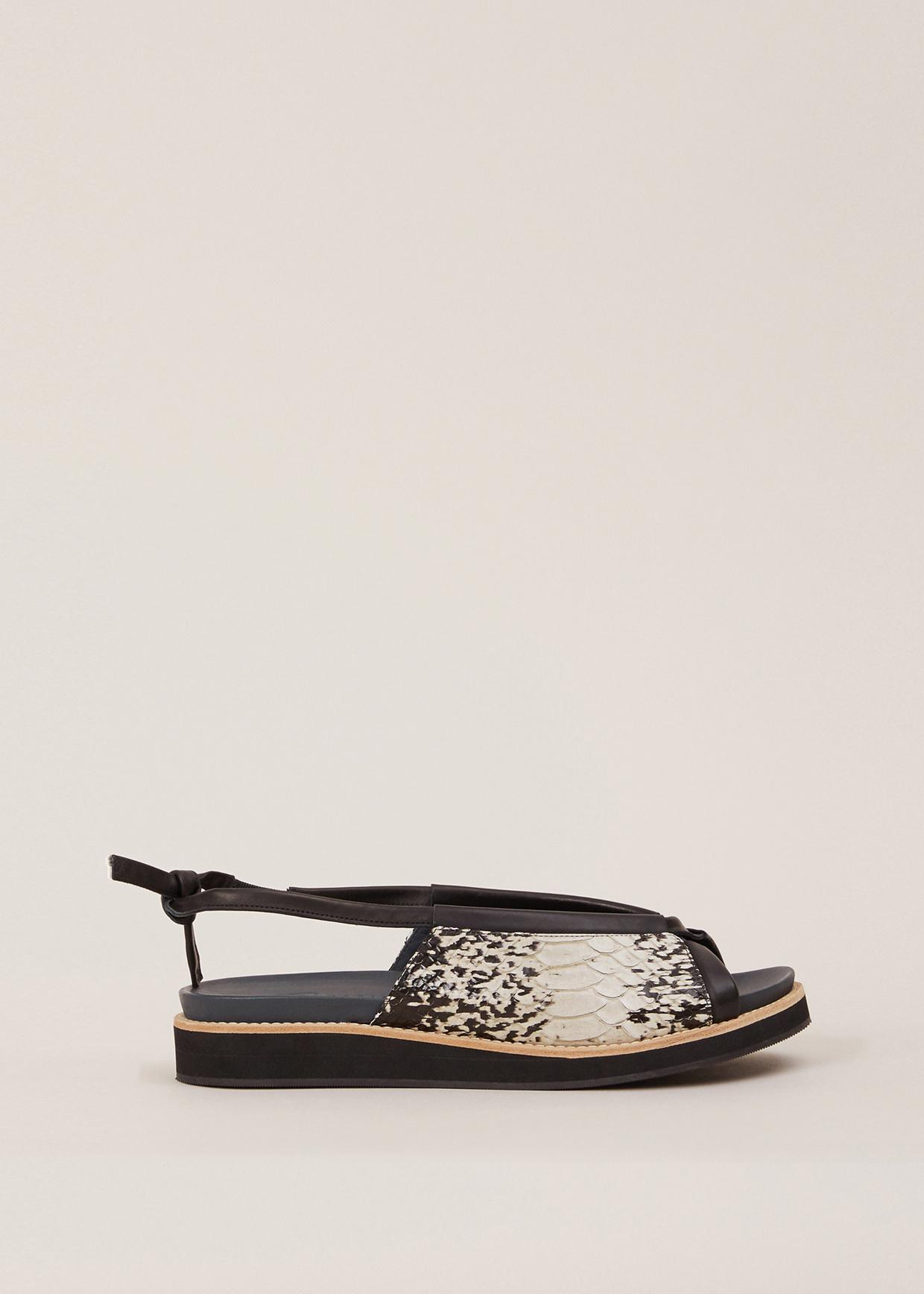 Zero Maria Cornejo Aged Canvas Black Laeti Sandal In