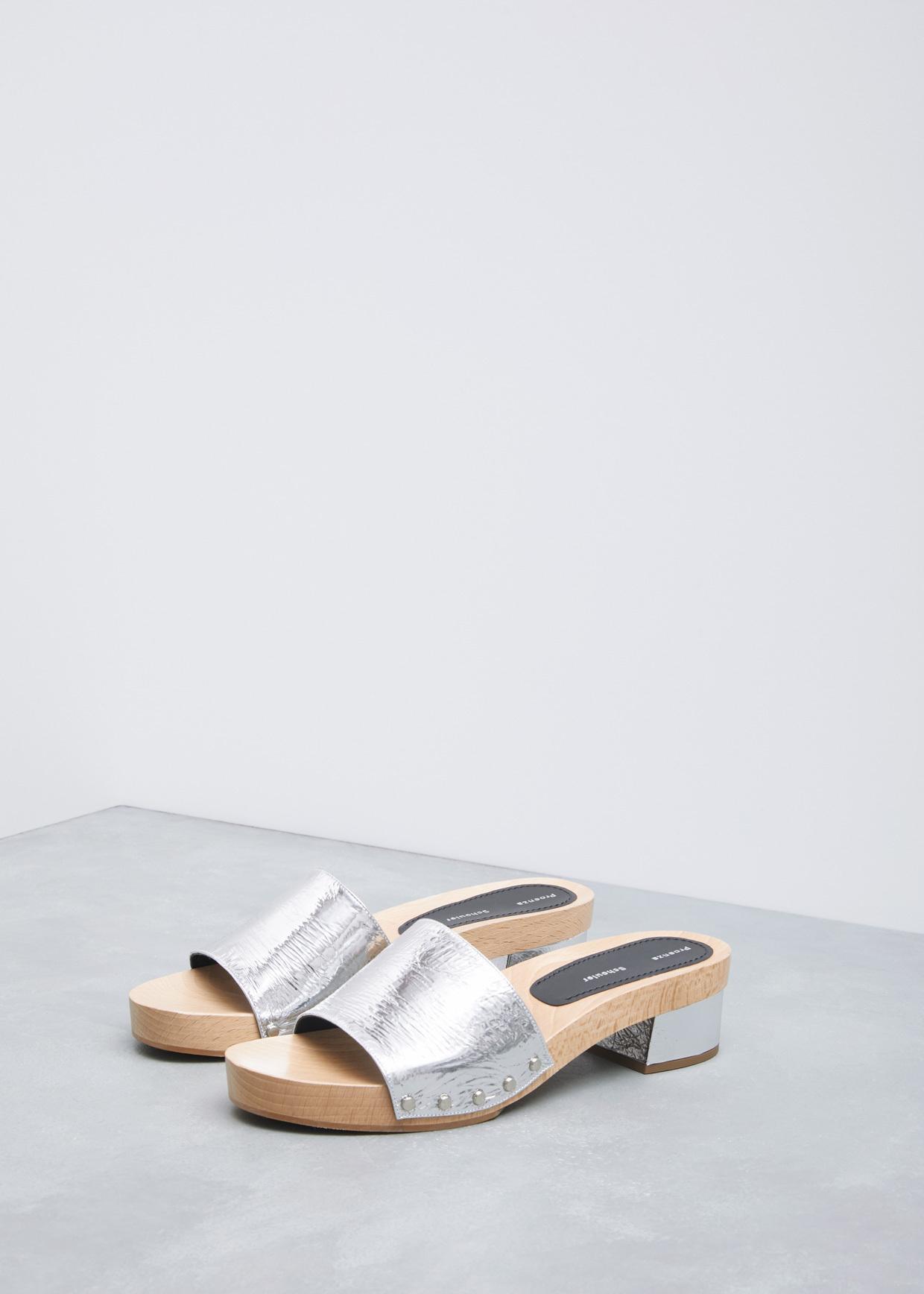 d83726c68d3 Lyst - Proenza Schouler Silver Metallic Simple Slide Wedge Sandal in ...