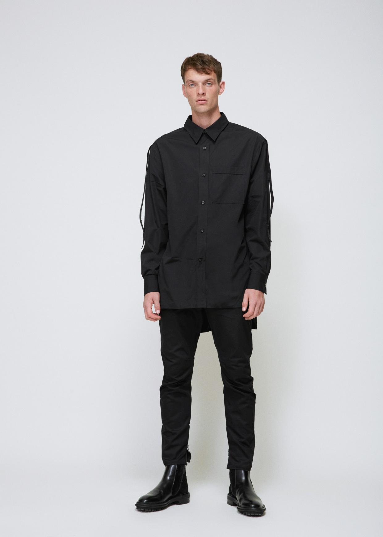 Lanvin black adjustable sleeve extra long shirt in black for Extra long mens dress shirts