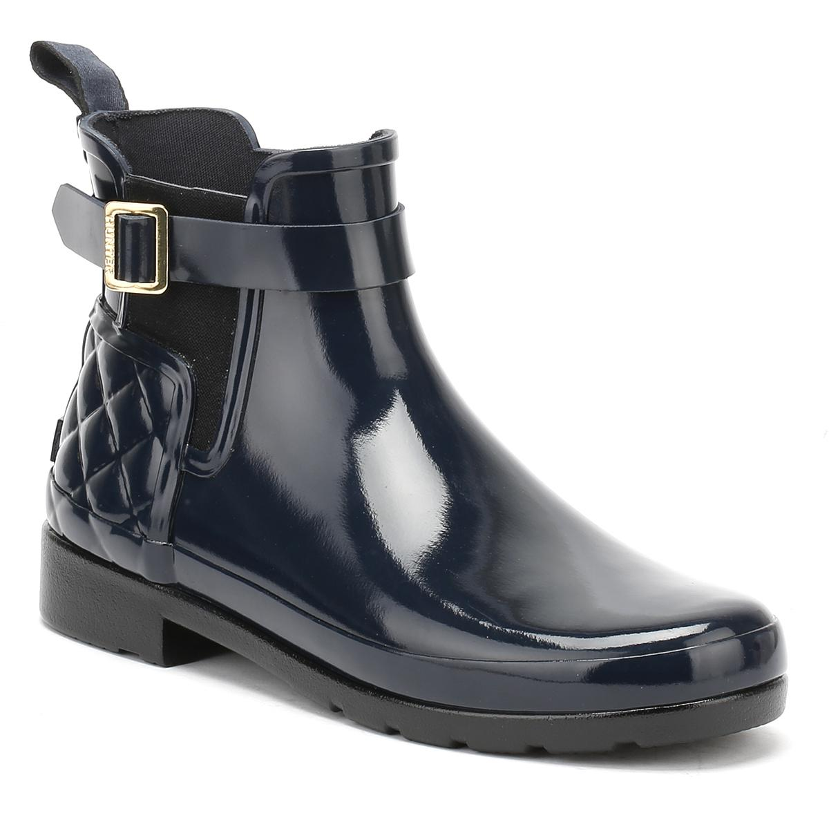 3cf34b460d8 HUNTER. Blue Original Womens Refined Gloss Quilted Navy Chelsea Boots