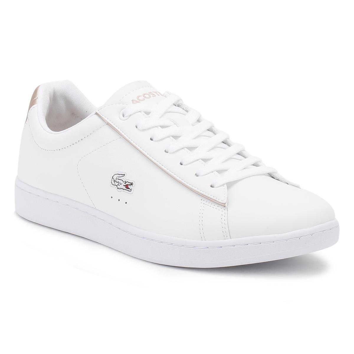 ff5ccee4118cc Lacoste Womens White/light Pink Carnaby Evo 217 2 Spw Trainers