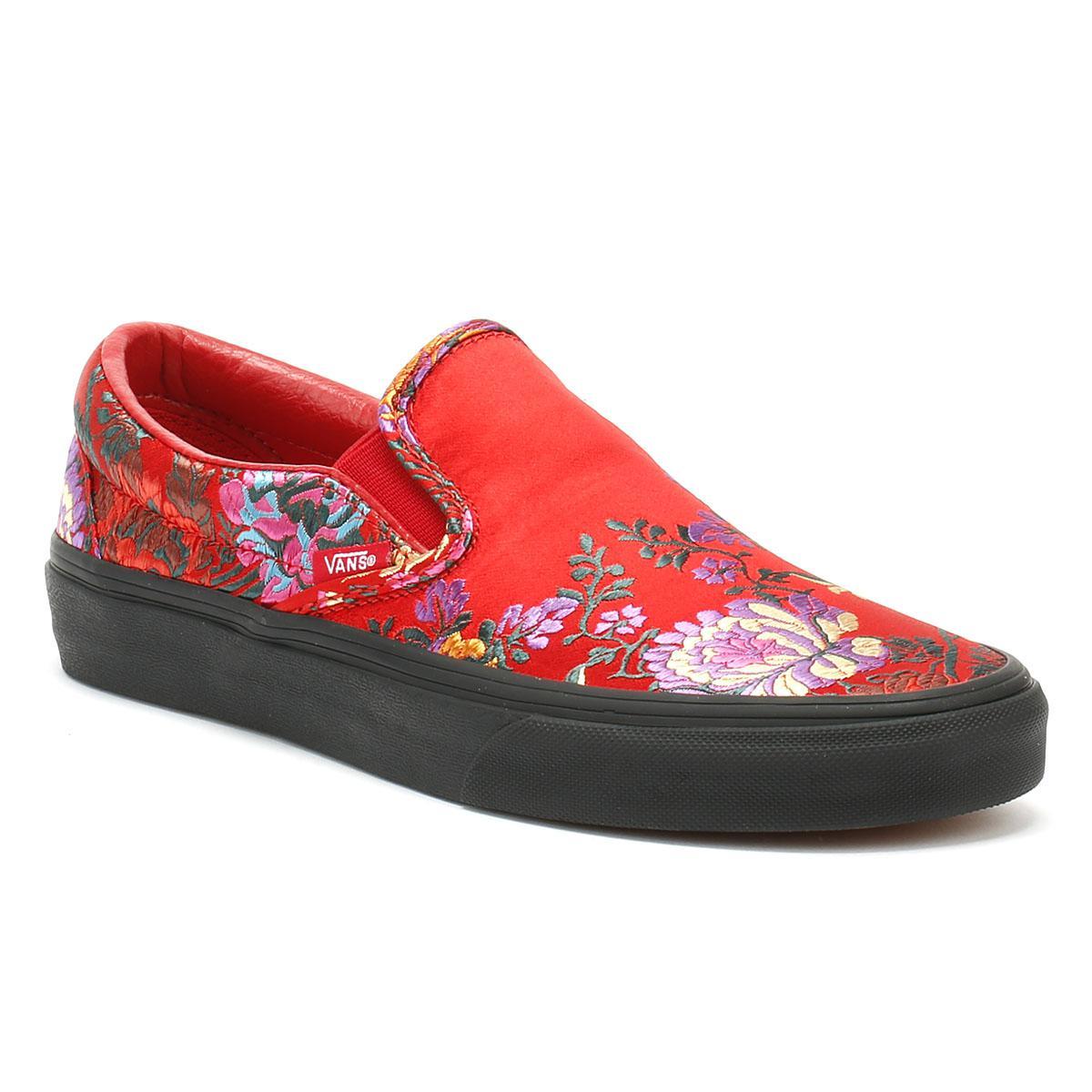 Slip Sneakers Red Satin Womens Classic Festival On Pym0Owv8nN