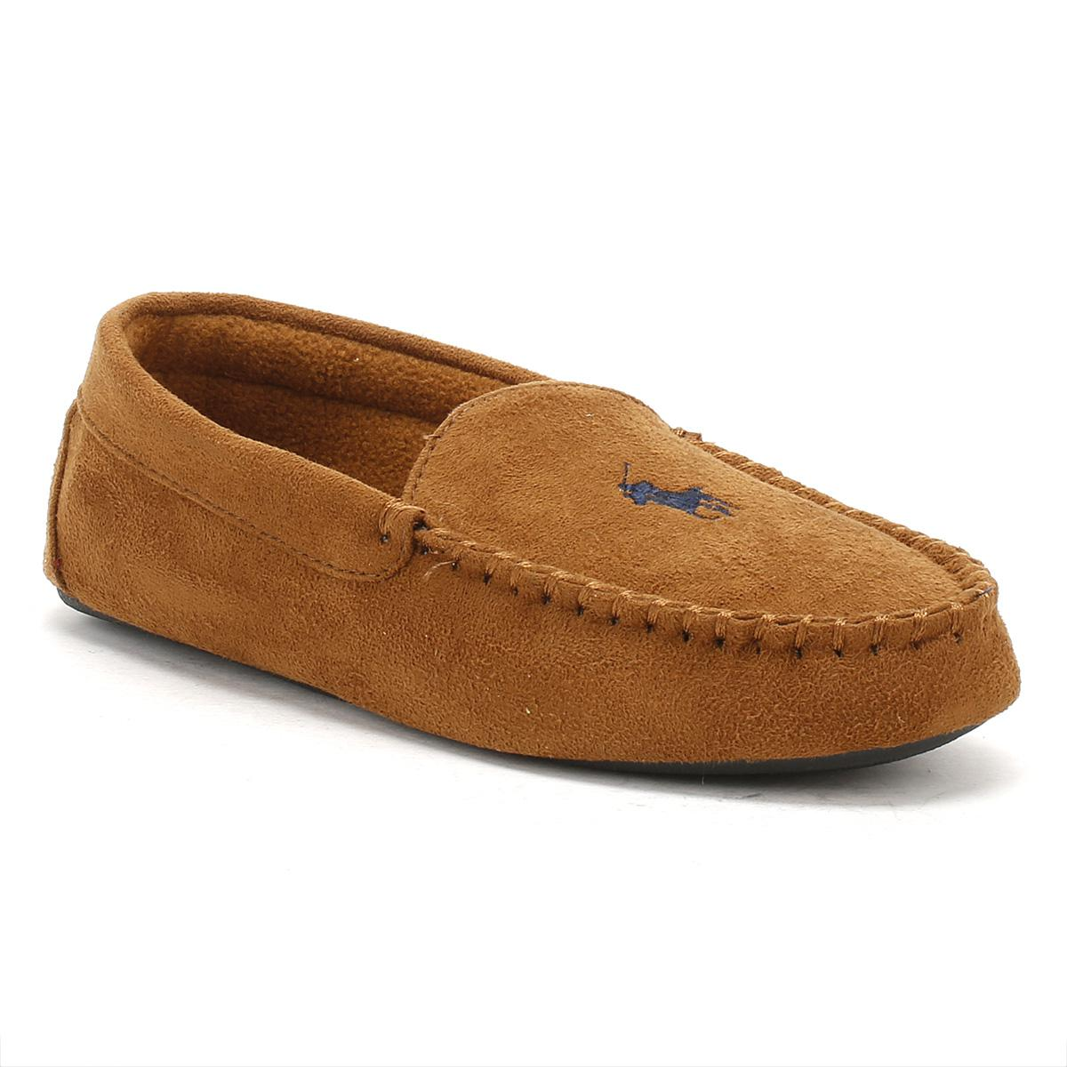 1a884c84767d Ralph Lauren Mens Snuff Tan   Navy Dezi Ii Moccasin Slippers in ...