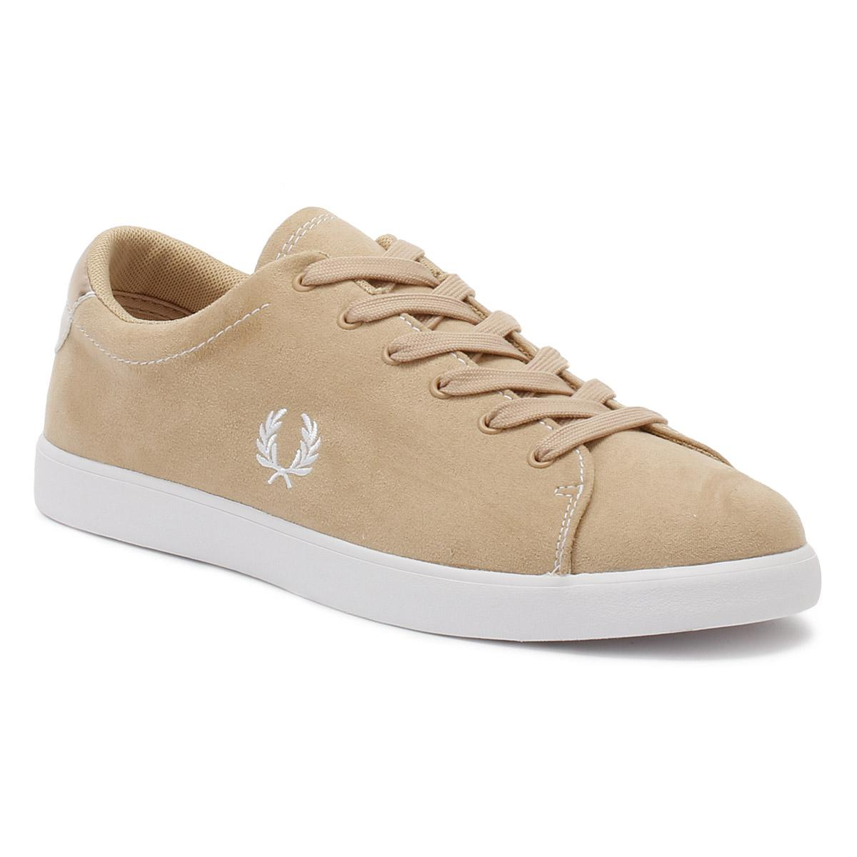 3d408ef073 Fred Perry Womens Natural Tan Lottie Microfibre Trainers in Brown - Lyst