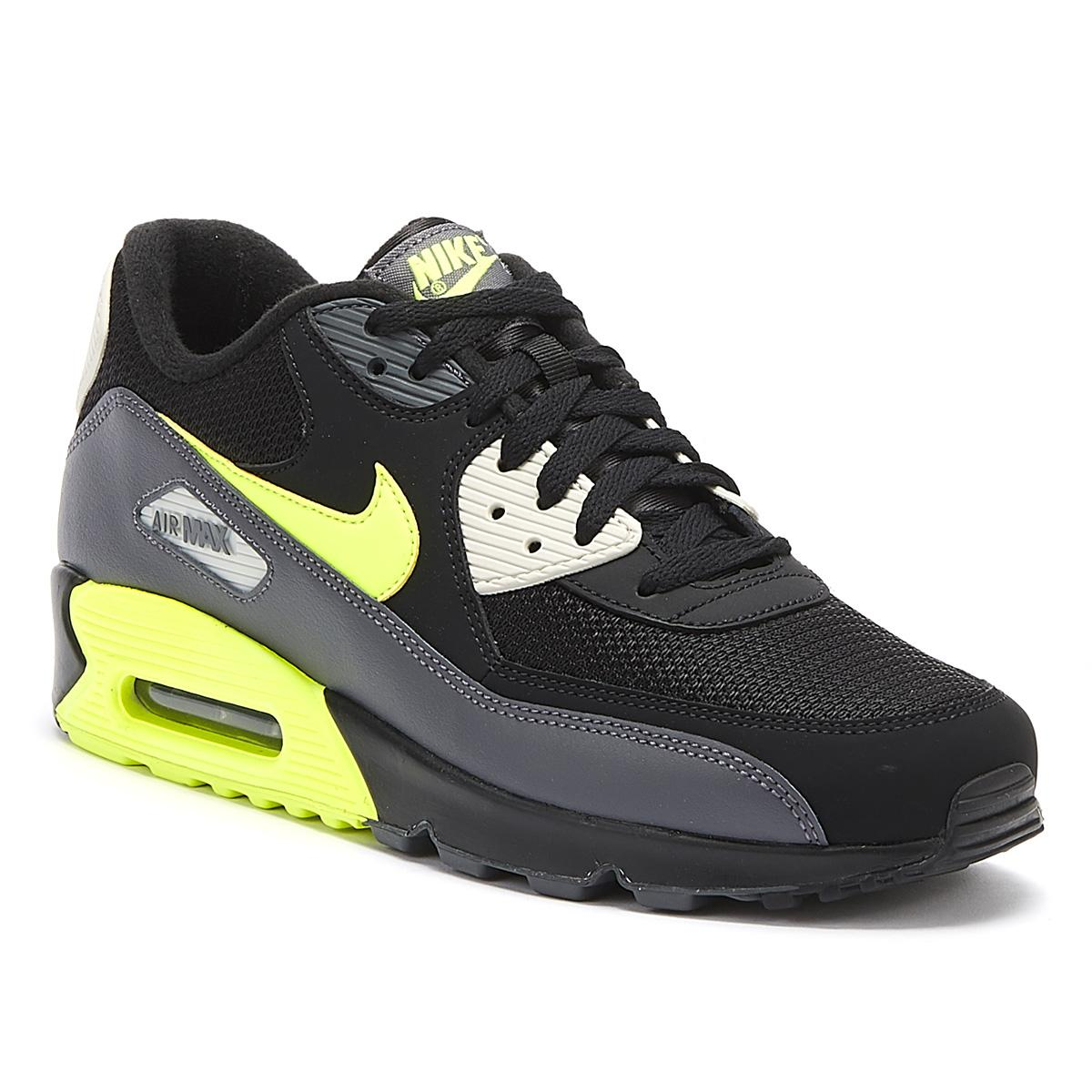 Nike Leather Air Max 90 Essential Mens Black / Volt Trainers for ...