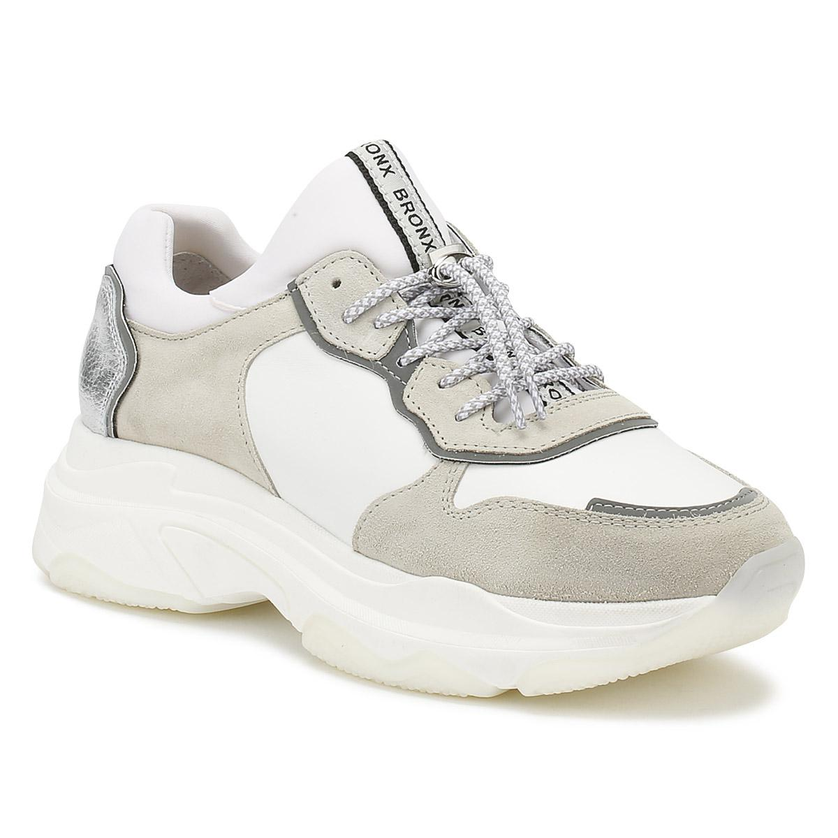 White & Grey Suede Chunky Trainers - White Bronx byt3r3