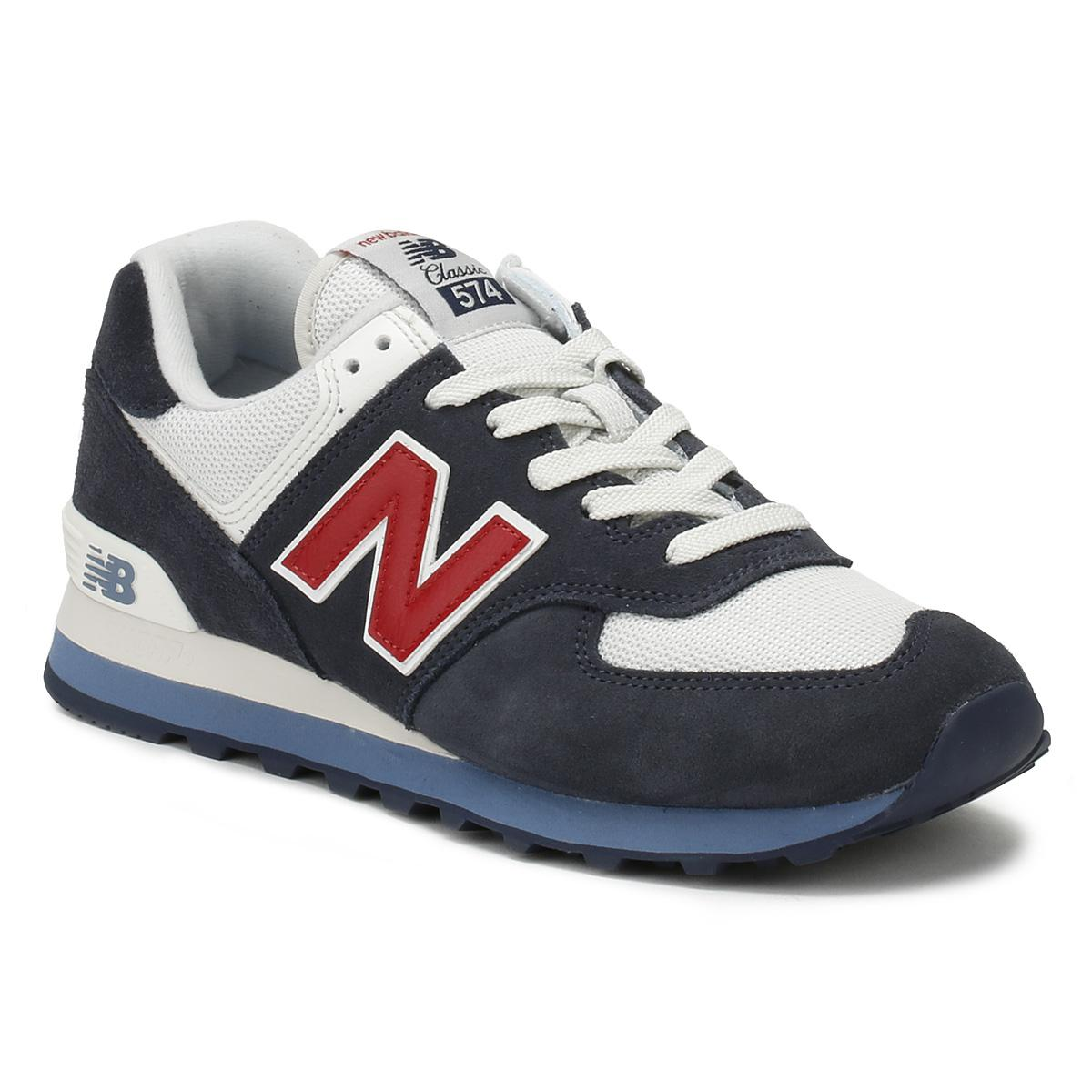 New Balance Suede Mens Navy / Red 574 Trainers in Blue for Men - Lyst