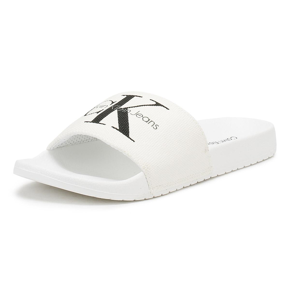 Calvin Klein Mens White Viggo Slides for Men - Lyst