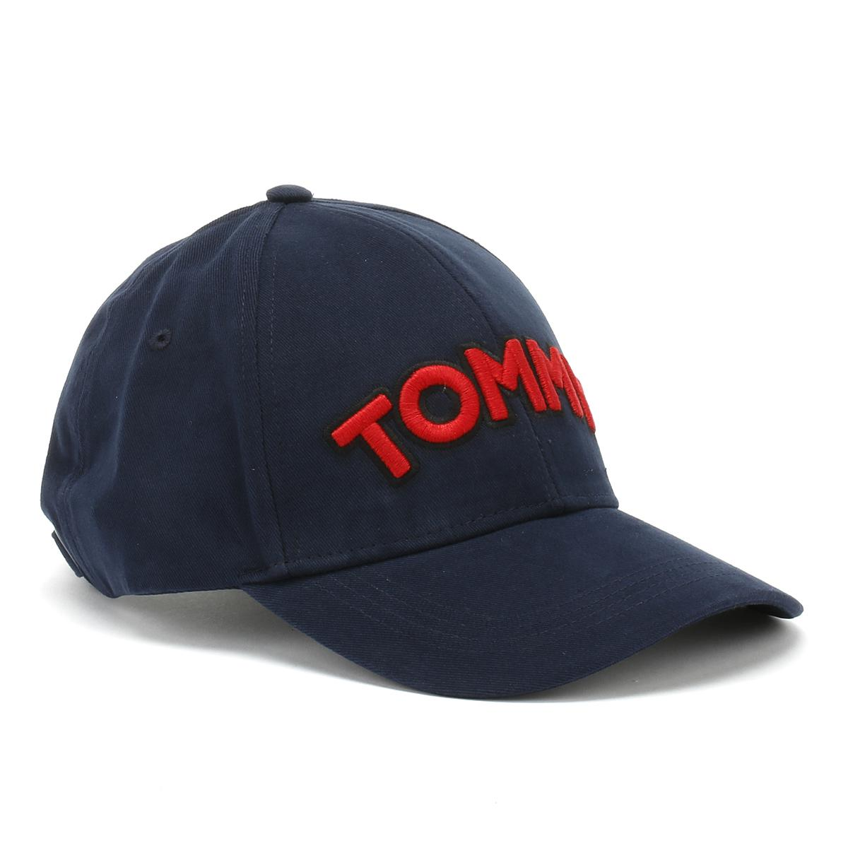 tommy hilfiger womens navy patch cap in blue lyst