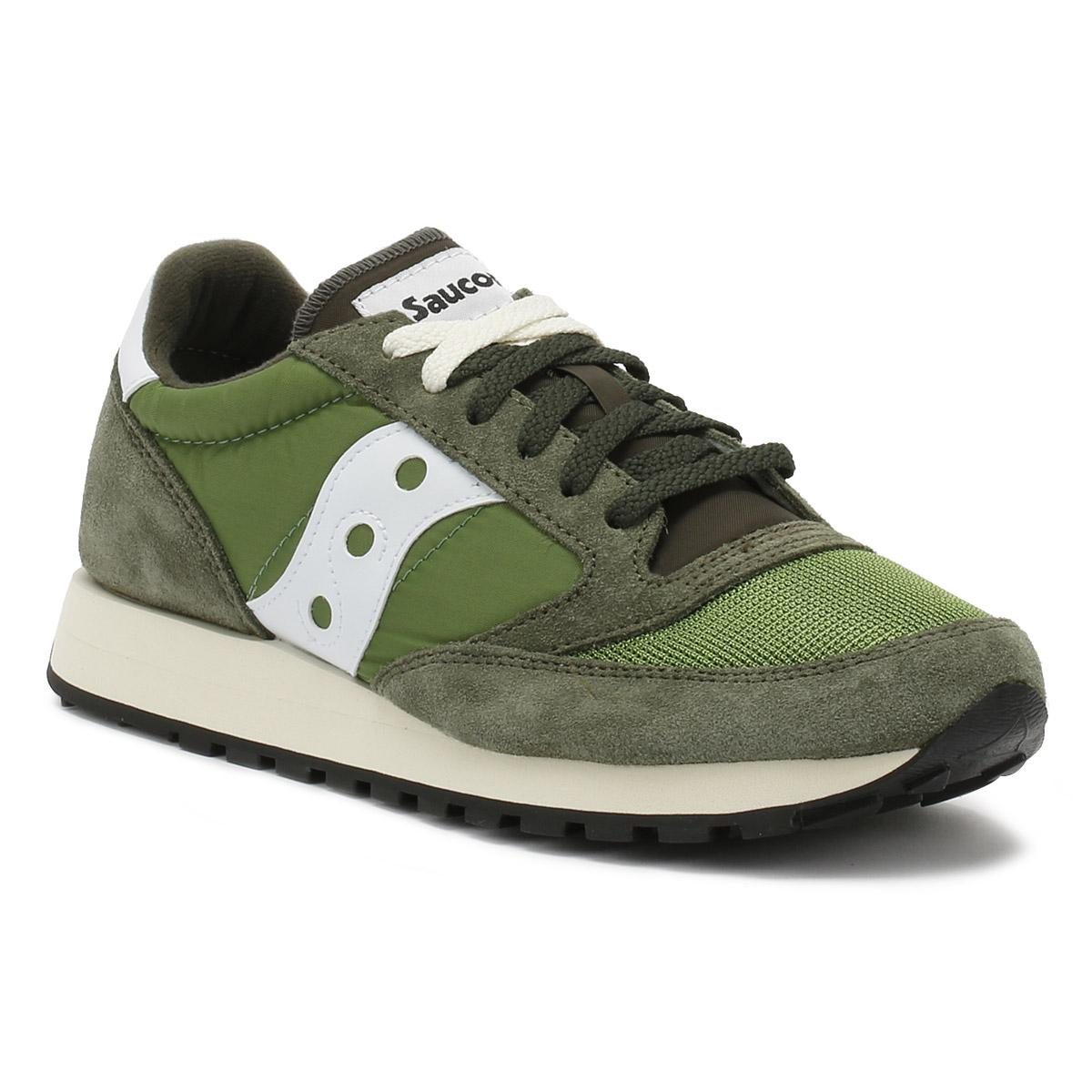 43381adce Saucony Mens Olive Green   Grey Jazz Original Vintage Trainers in ...
