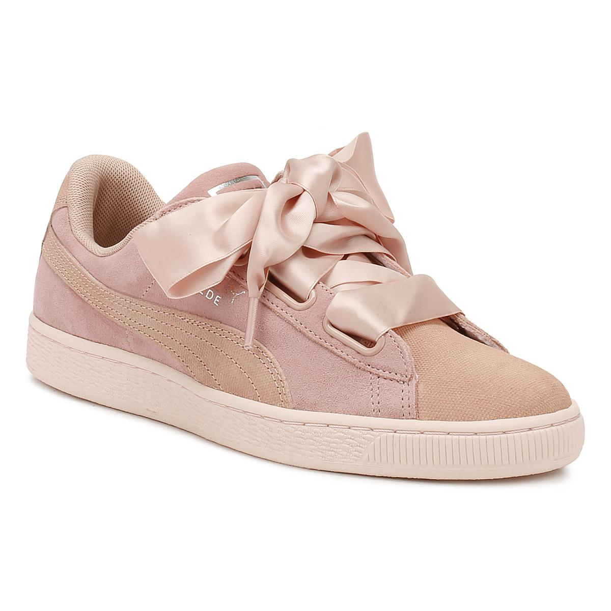 Womens Peach Pearl Heart Pebble Suede Trainers