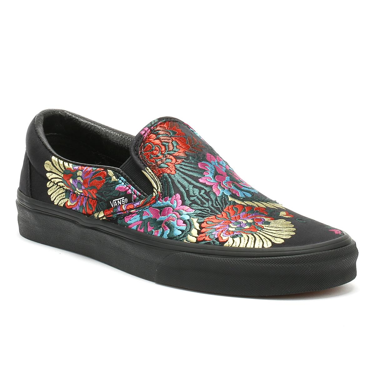 96356d253bc Lyst - Vans Classic Slip On Festival Satin Womens Black Trainers in ...