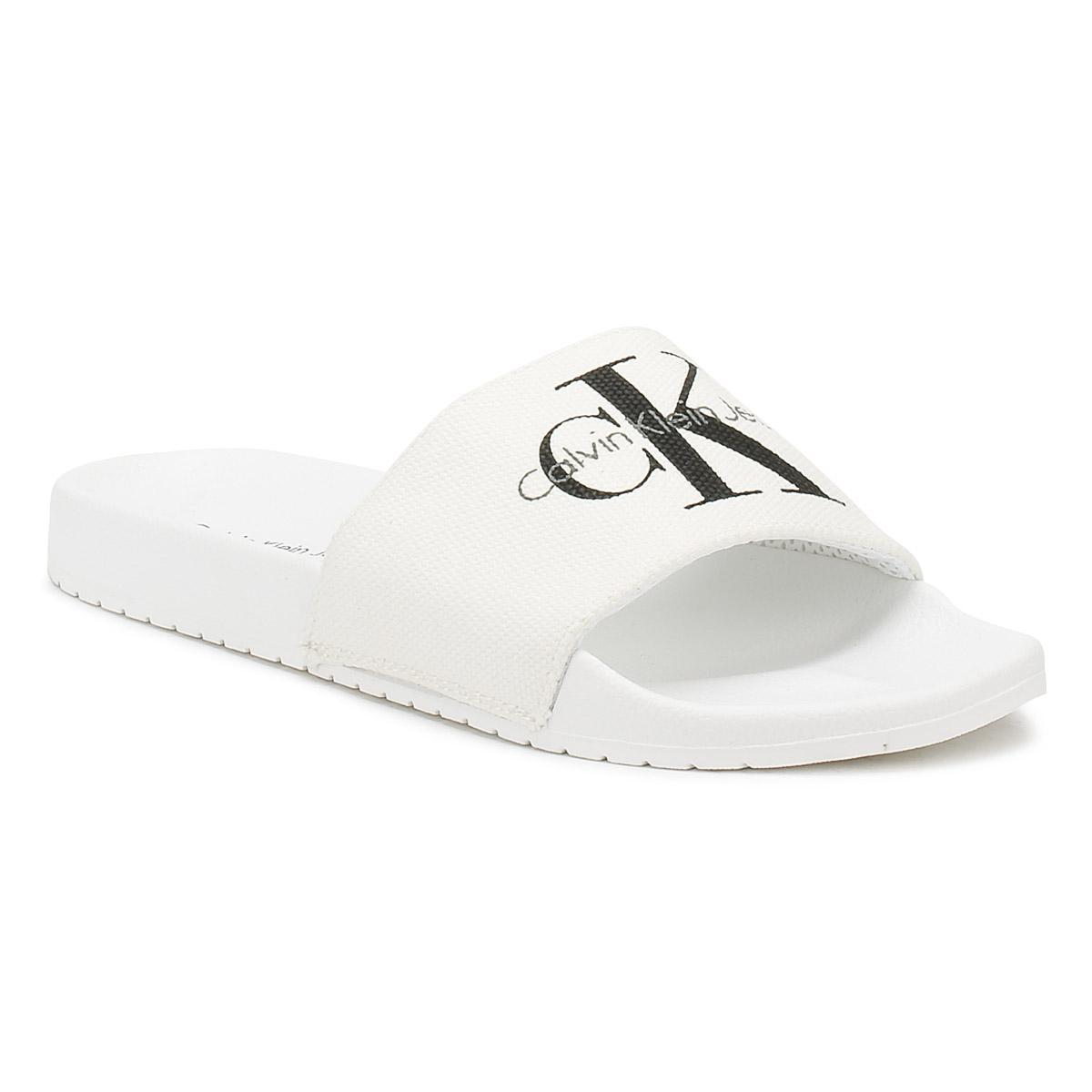 95661038360e Calvin Klein Mens White Viggo Slides in White for Men - Lyst