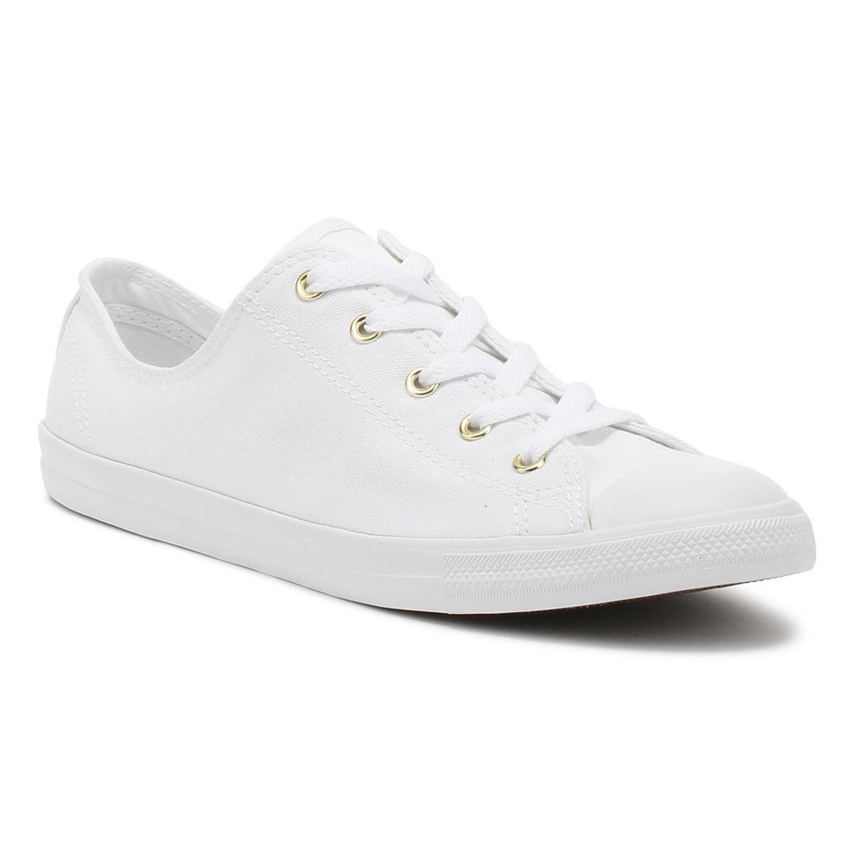 8b3590aeada3a8 Converse. Chuck Taylor All Star Womens White   Gold Dainty Ox Trainers
