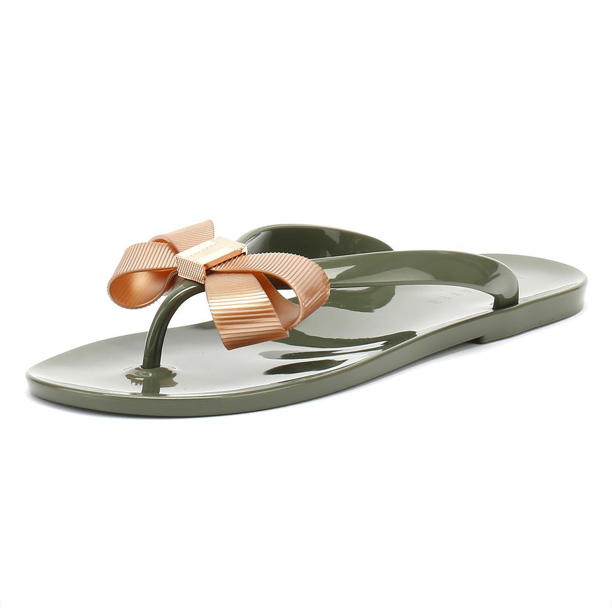 12425f6d4 Ted Baker Womens Khaki   Rose Gold Suszie Flip Flops in Metallic - Lyst