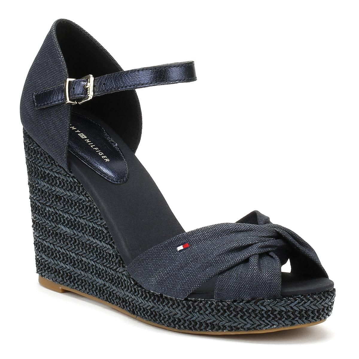 9ecc2283f47 Tommy Hilfiger Womens Midnight Navy Metallic Elena Wedge Sandals in ...