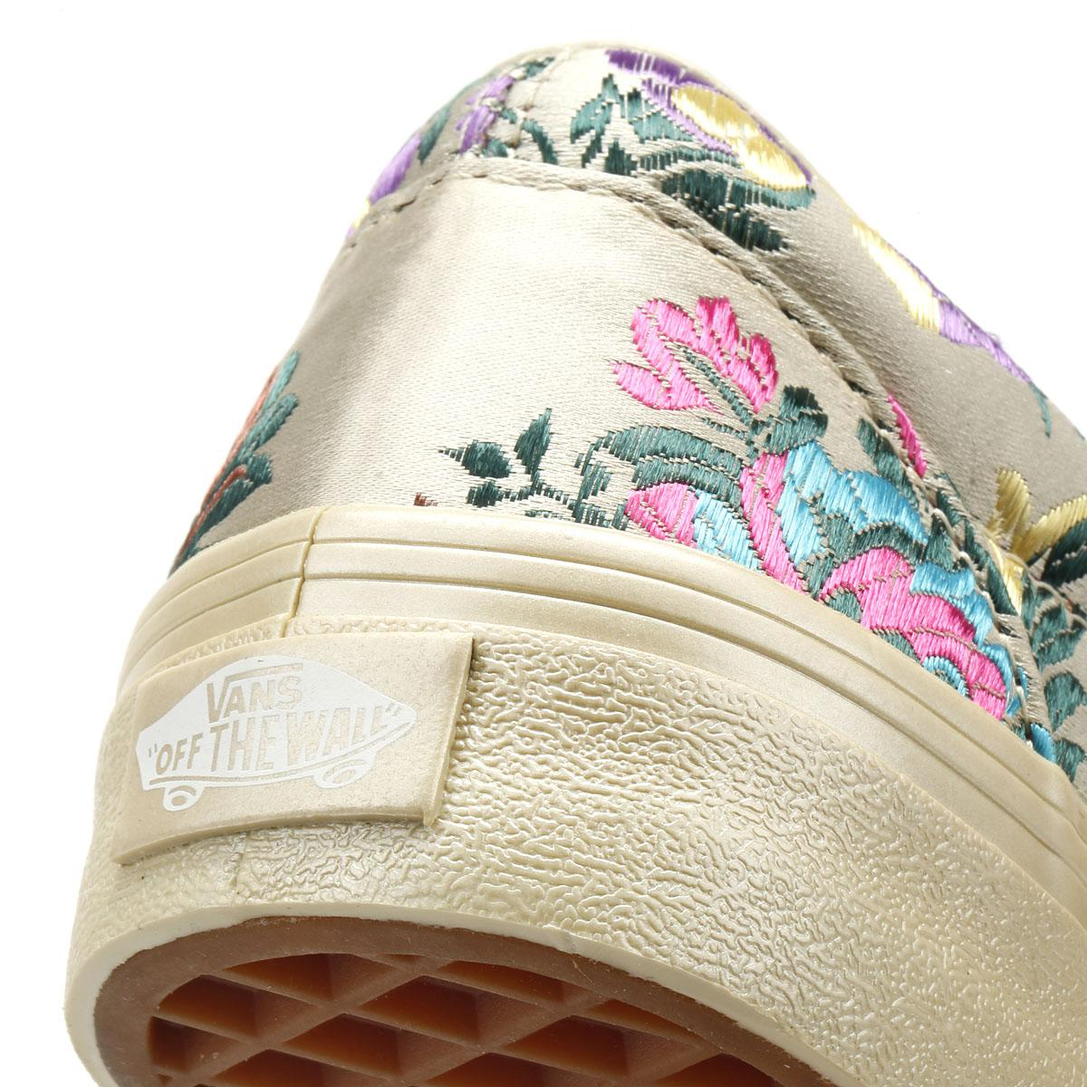 c836d7cd9d Lyst - Vans Classic Slip On Festival Satin Womens Gold Trainers in ...