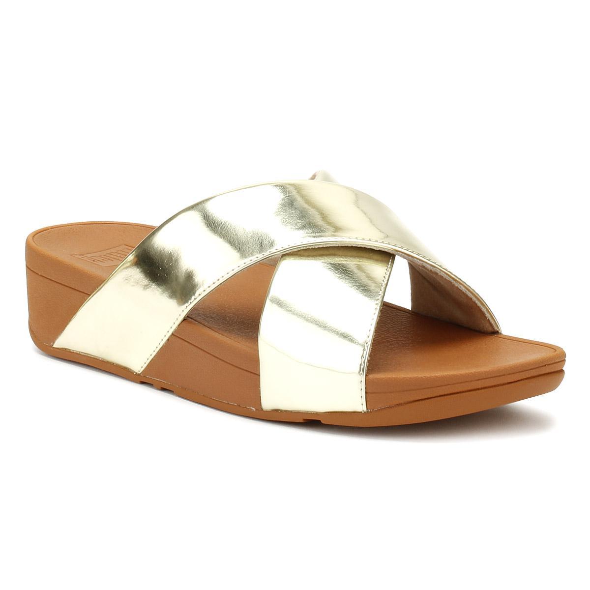 bdc12a7f87876 Fitflop Womens Gold Mirror Lulutm Cross Slide Sandals in Metallic - Lyst