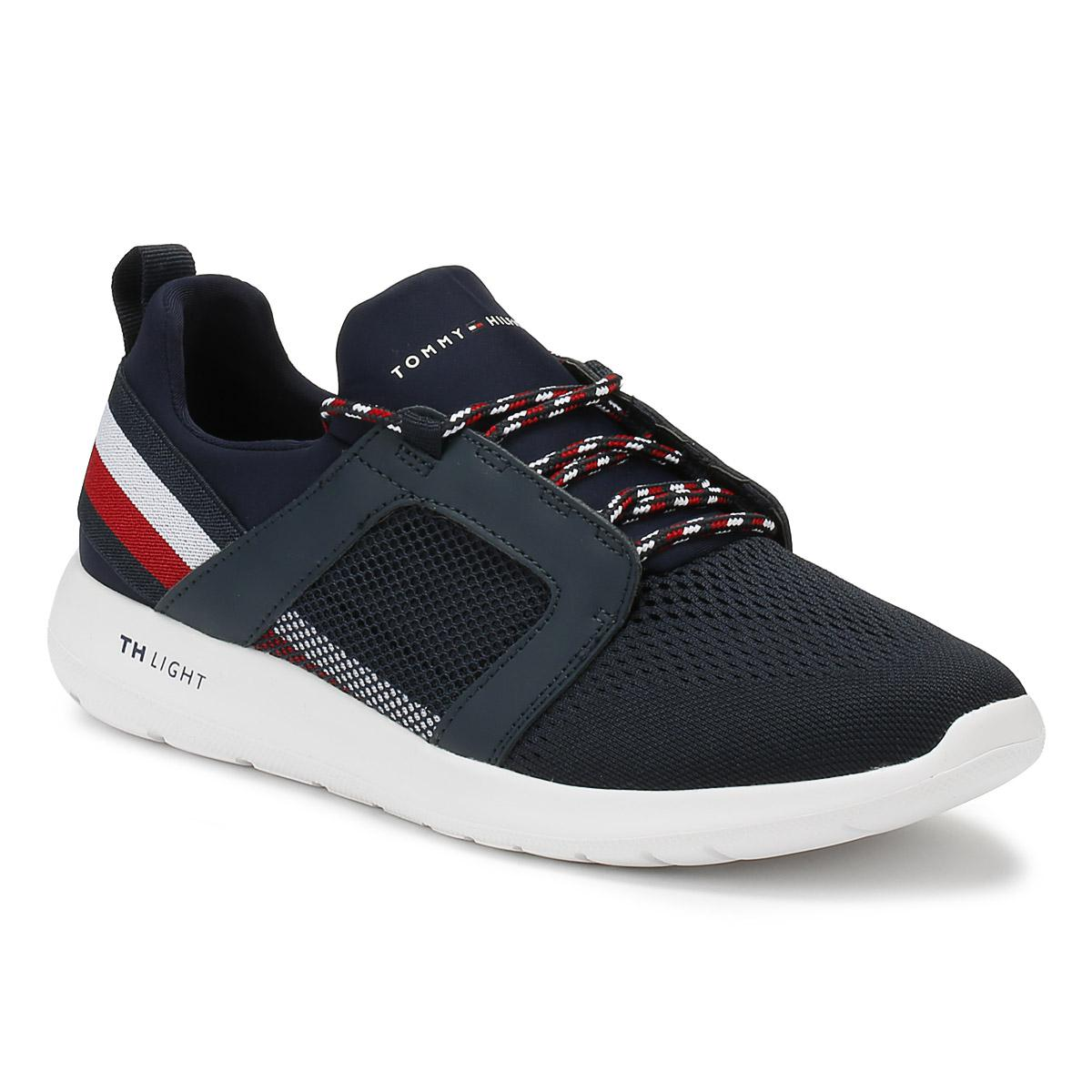 dd3cab34fb3 Lyst - Tommy Hilfiger Mens Midnight Navy Technical Material Trainers ...
