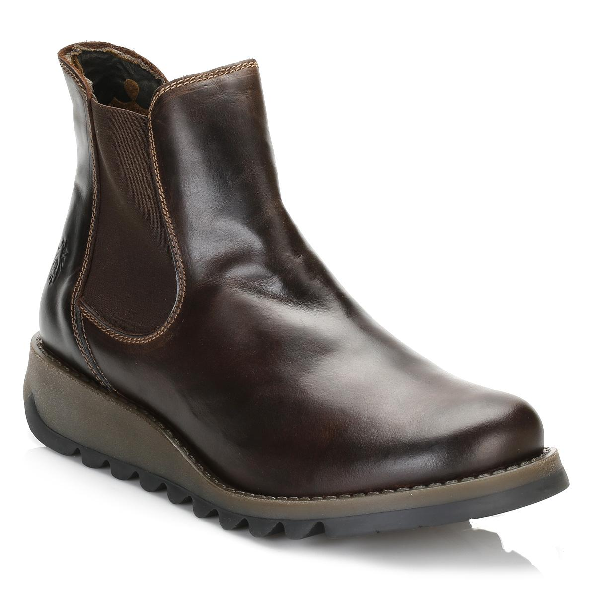 Fly London Womens Dark Brown Salv Leather Boots Lyst