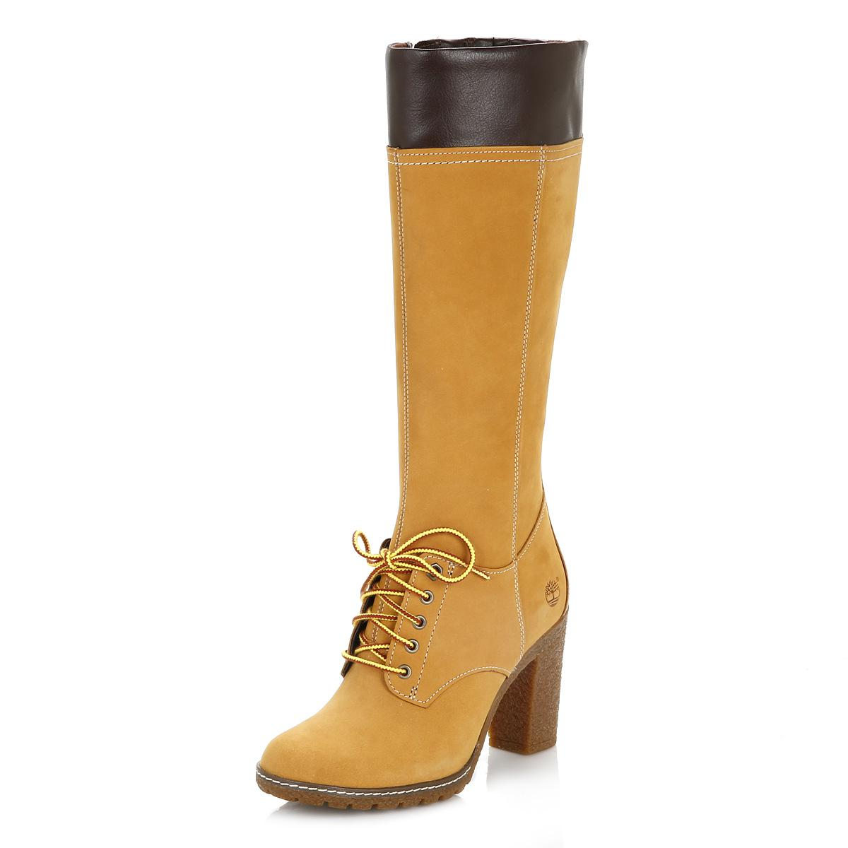 3720fc372d794 Timberland Womens Wheat Glancy Tall Lace With Zip Boots - Lyst