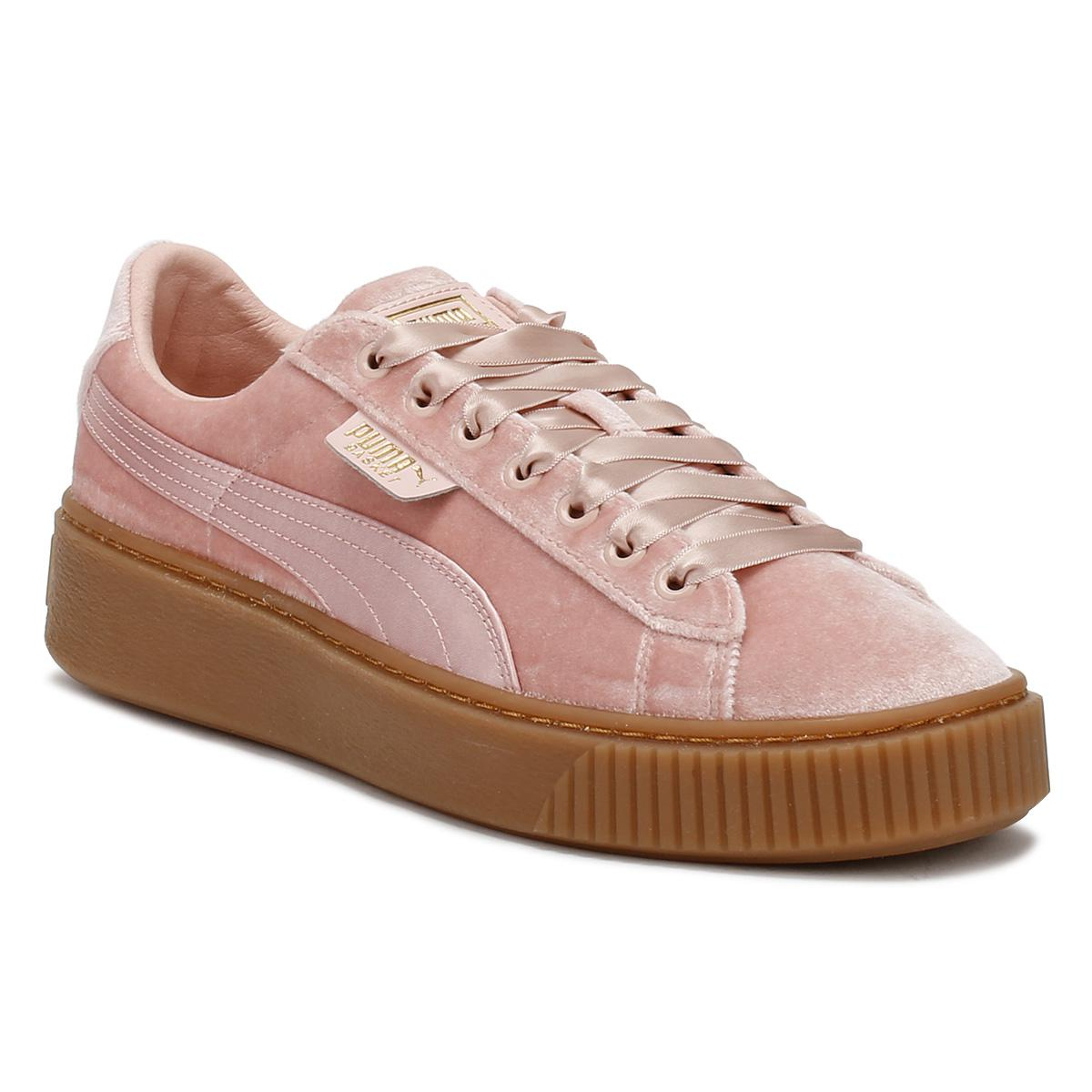 run shoes women great variety styles Womens Pink / Gum Velvet Basket Platform Trainers Women's Shoes (trainers)  In Pink