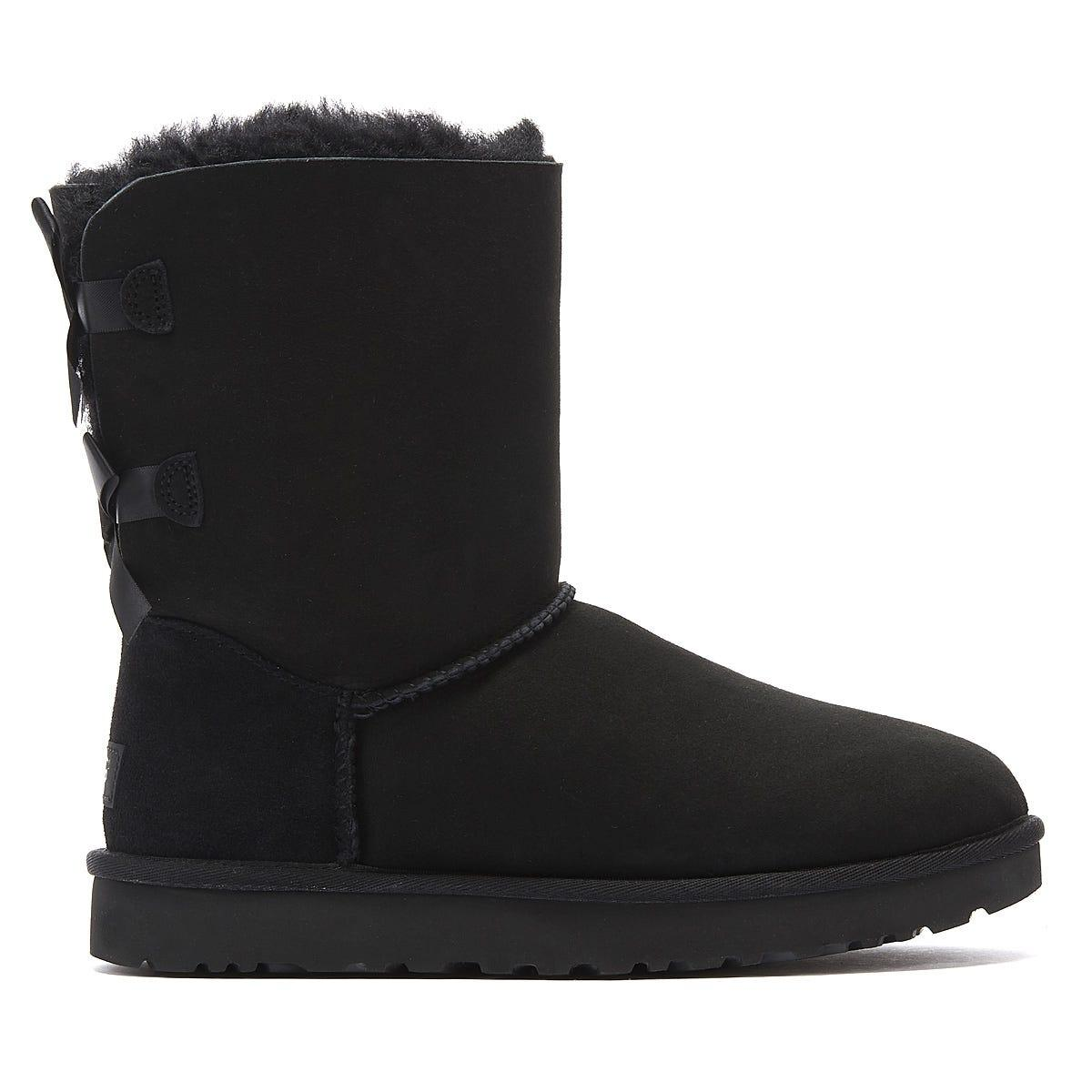 UGG Suede Shaina Classic Knit Boots in Black Suede (Black)
