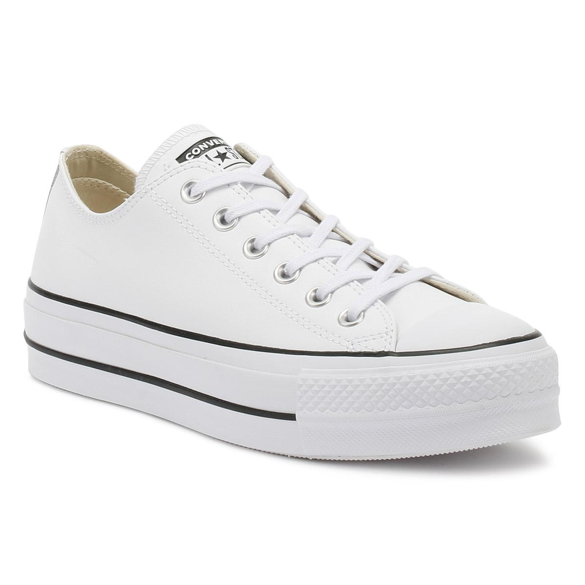 1d6f0827ae8d79 Converse Chuck Taylor All Star Womens White Lift Clean Ox Trainers ...