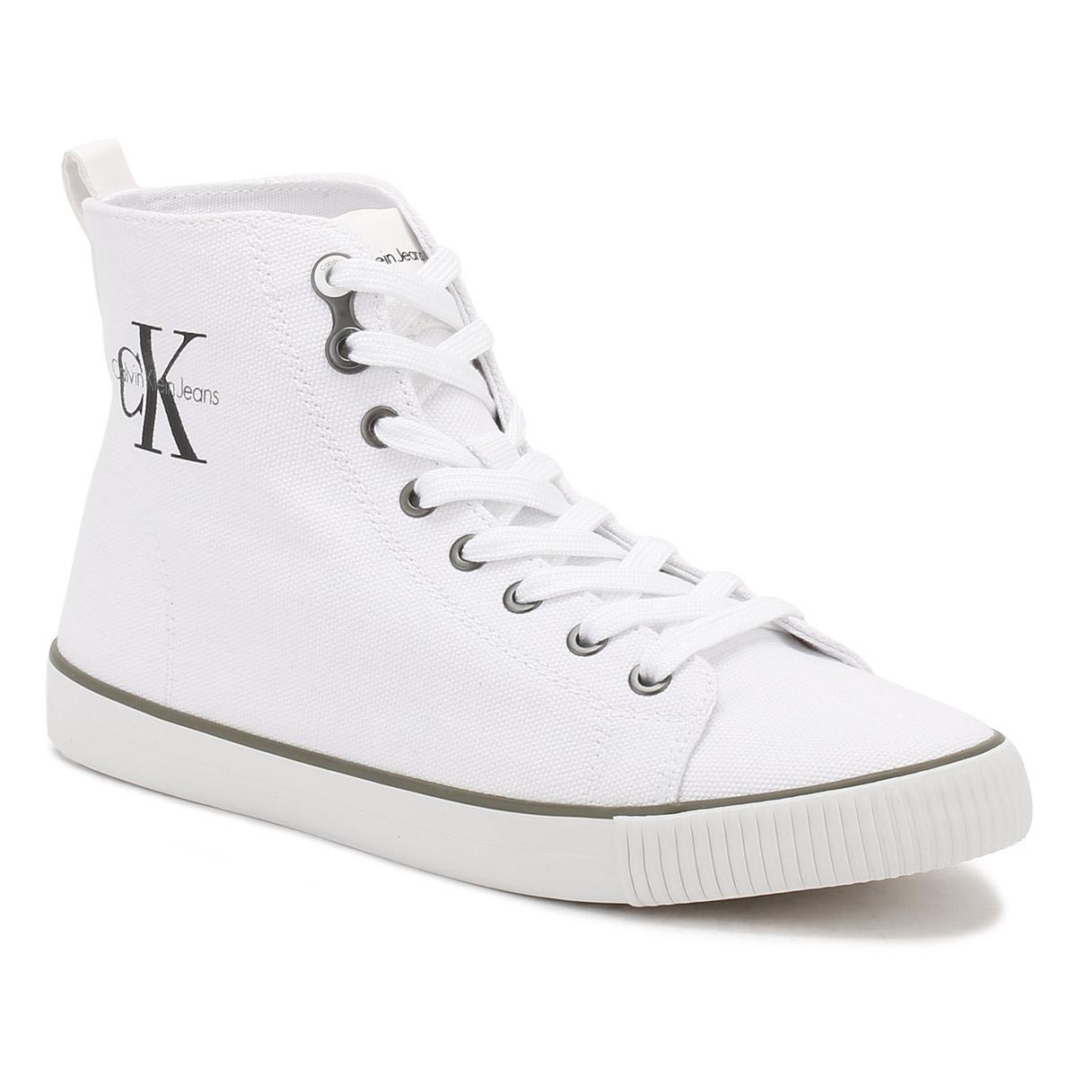 0bbceadb85 Lyst - Calvin Klein Womens White Dolores Canvas Trainers in White