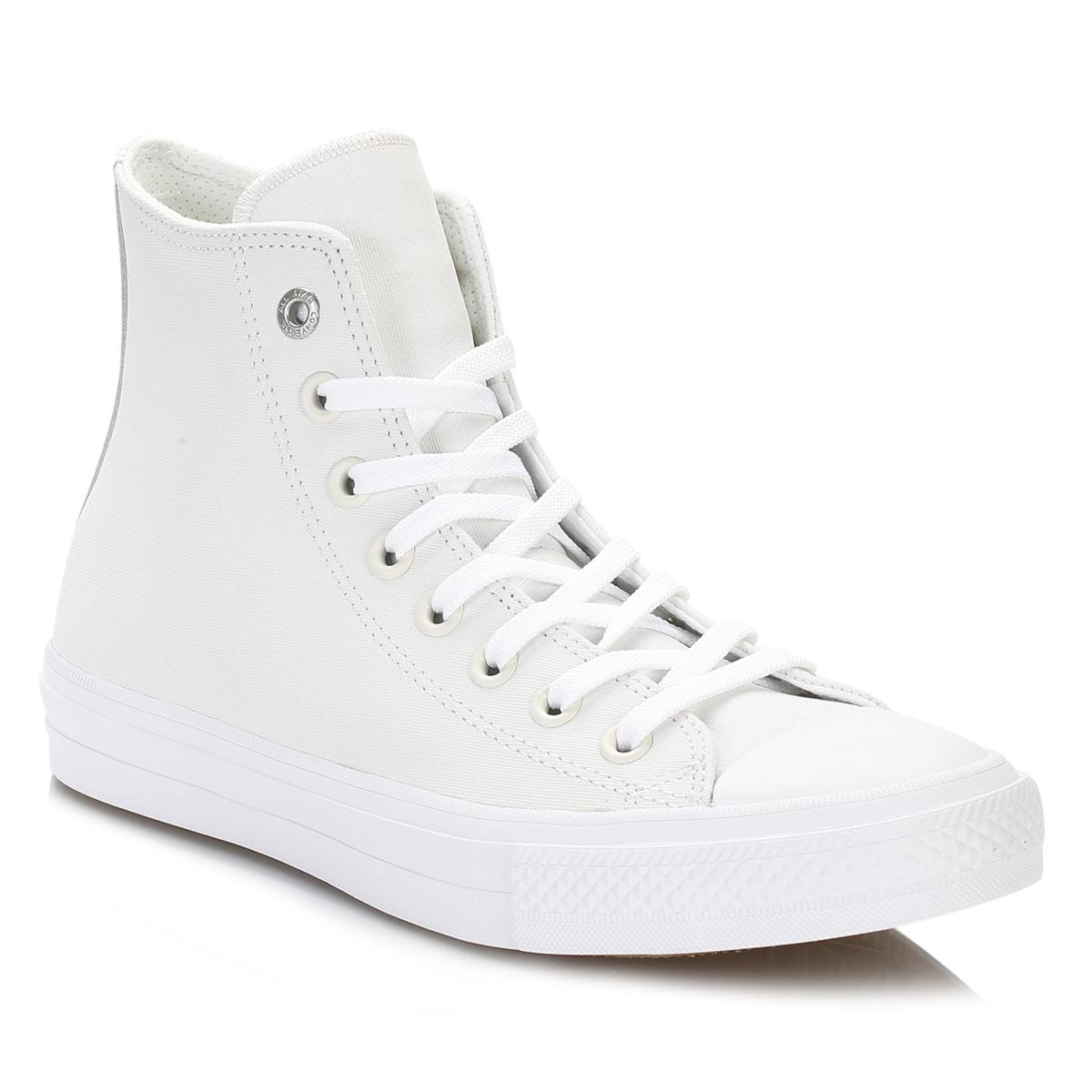 Converse All Star Womens White Buff Hi Shield Leather Trainers