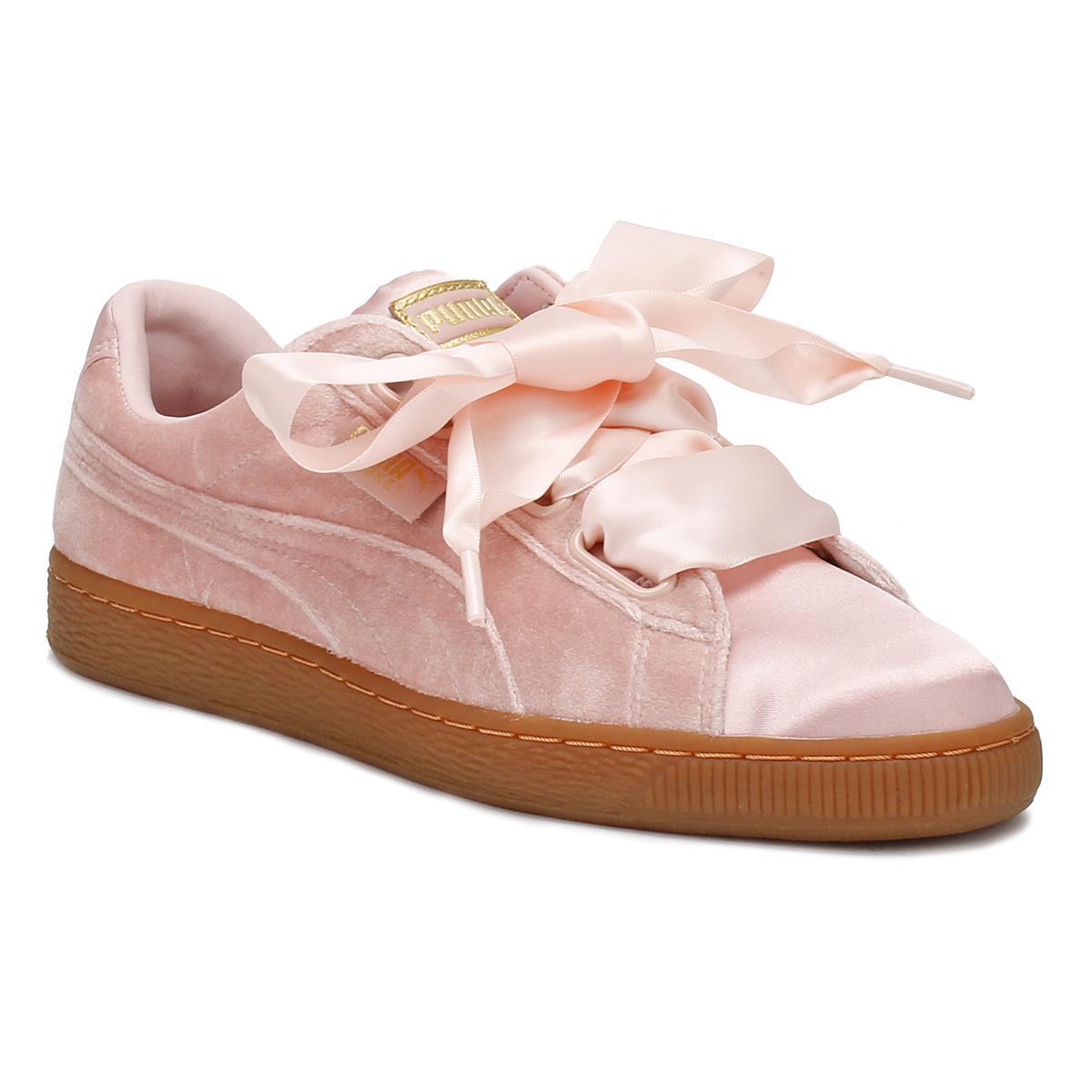 Womens Pink / Gum Velvet Basket Heart Sneakers