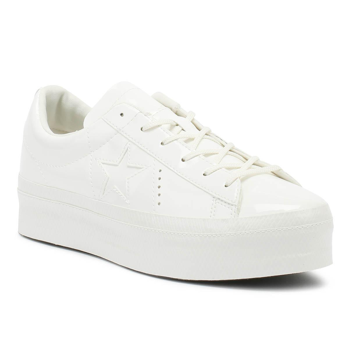 dbb1852db493 Converse One Star Womens Vintage White Platform Ox Trainers in White ...