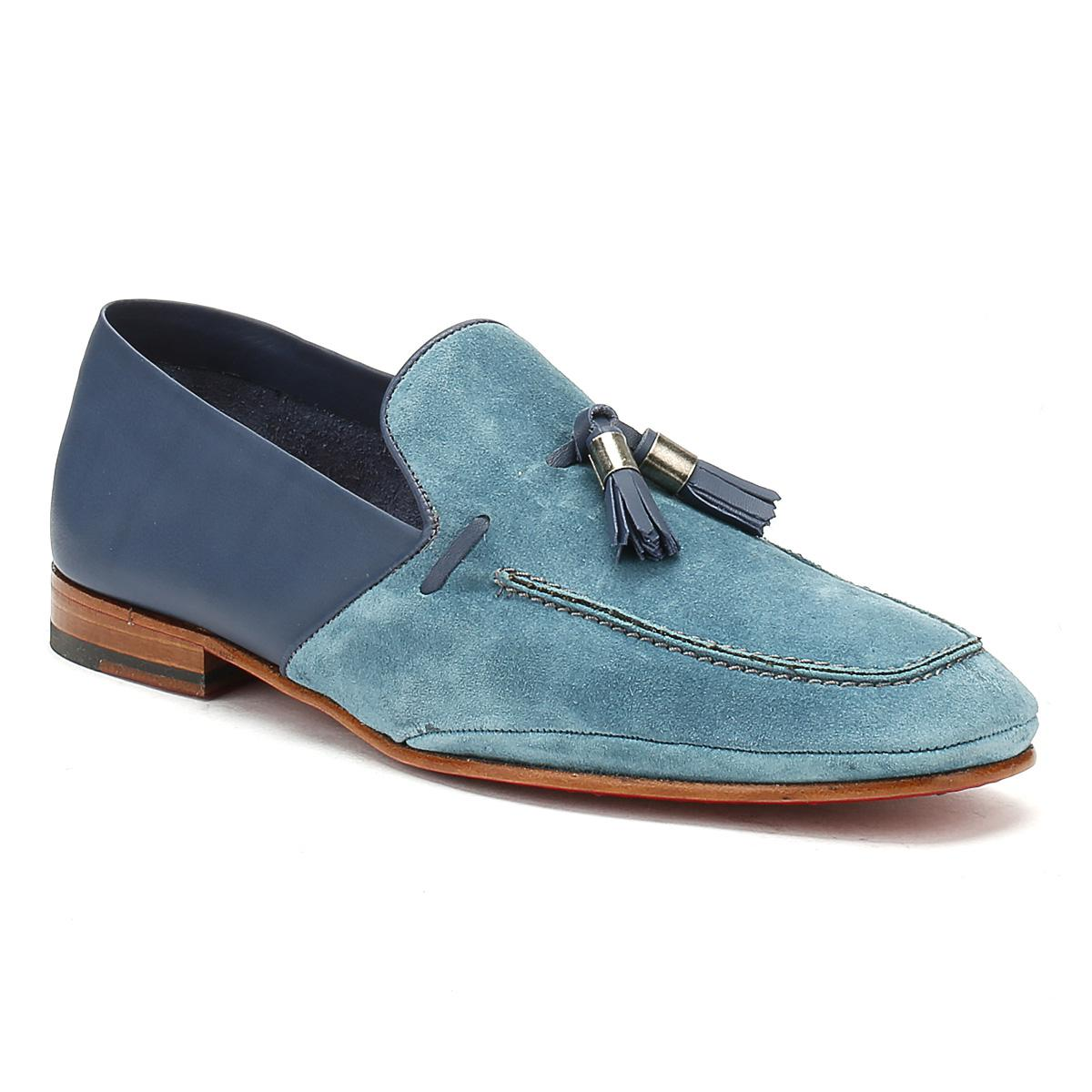 Mens Croste Bovino Seta Blue Martini Mule Loafer
