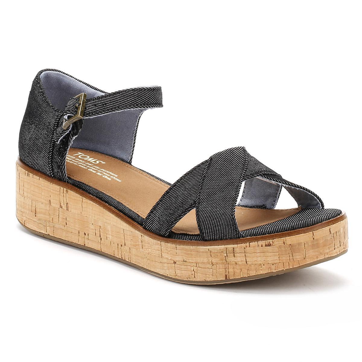 d01c7c63d8df Lyst - TOMS Womens Black Denim Harper Platform Wedge Sandals in Black