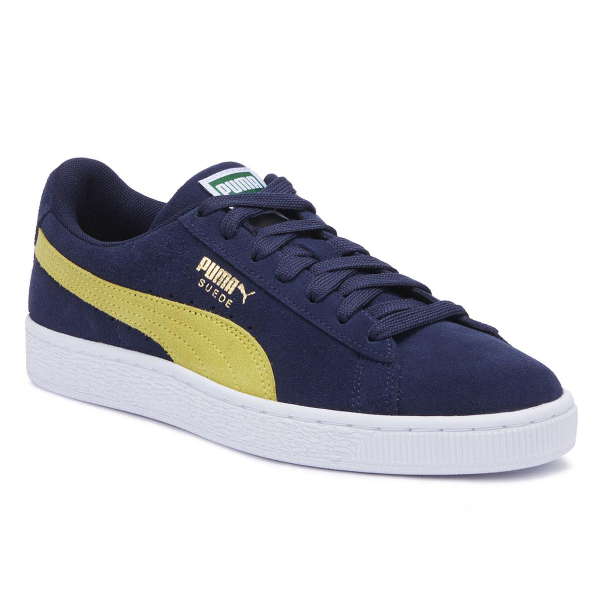 finest selection 94344 9344e Mens Peacoat Blue / Blazing Yellow Suede Classic Sneakers