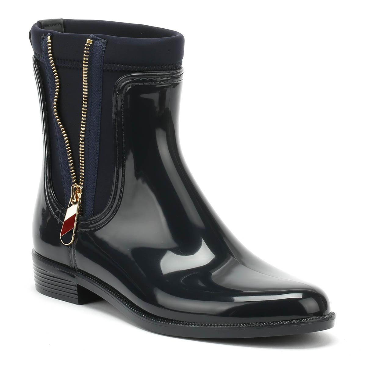 41362fe0680f4e Lyst - Tommy Hilfiger Womens Midnight Navy Material Mix Rain Boots ...