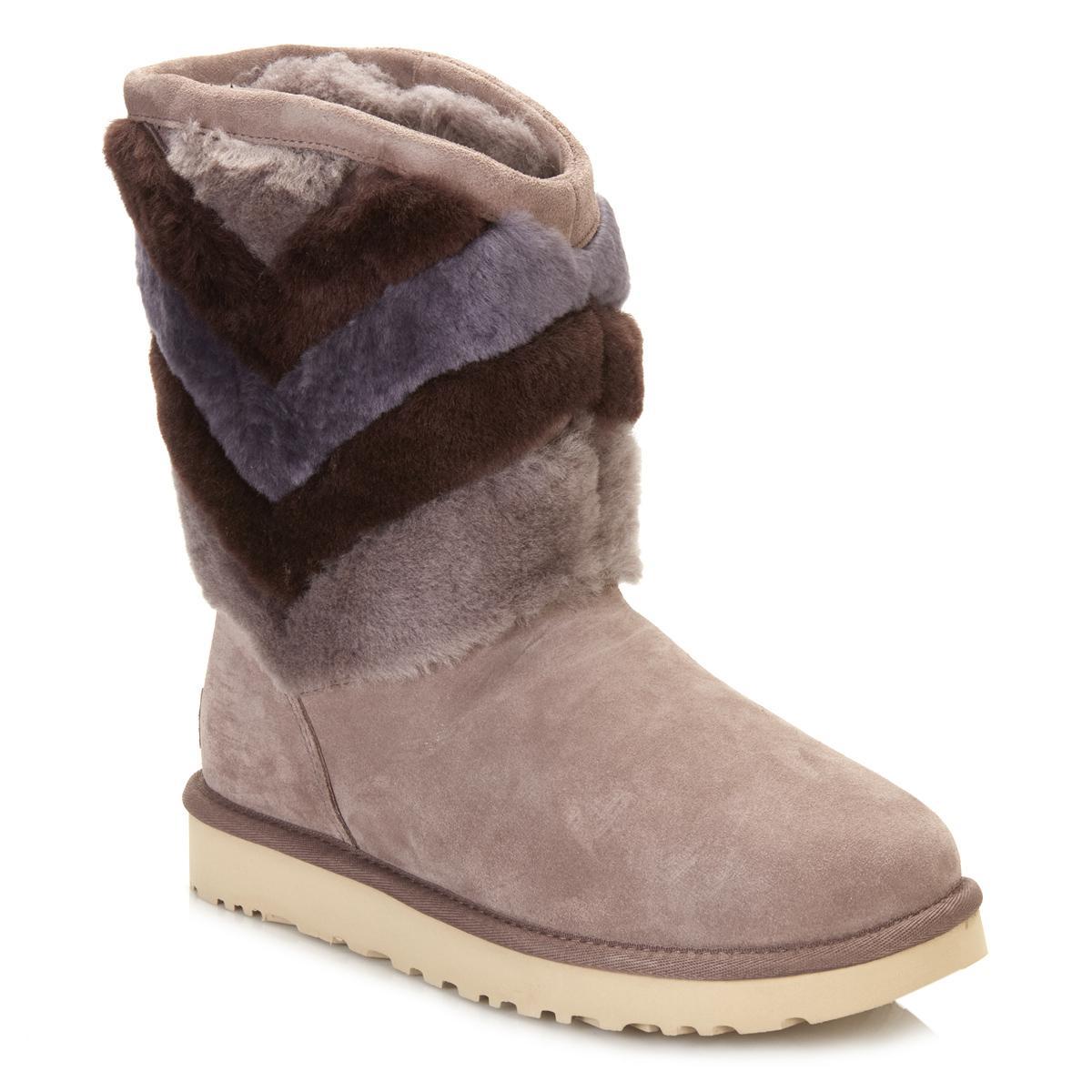 b2d8694966f Ugg Gray Ugg Womens Stormy Grey Tania Classic Novelty Sheepskin Boots