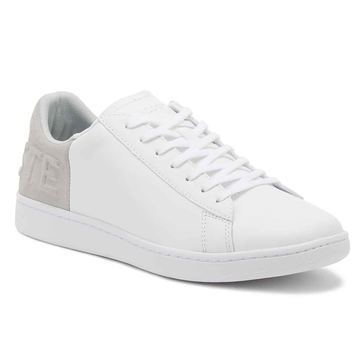 34abe55a0 Lacoste Mens White   Light Grey Carnaby Evo 318 6 Trainers in White ...