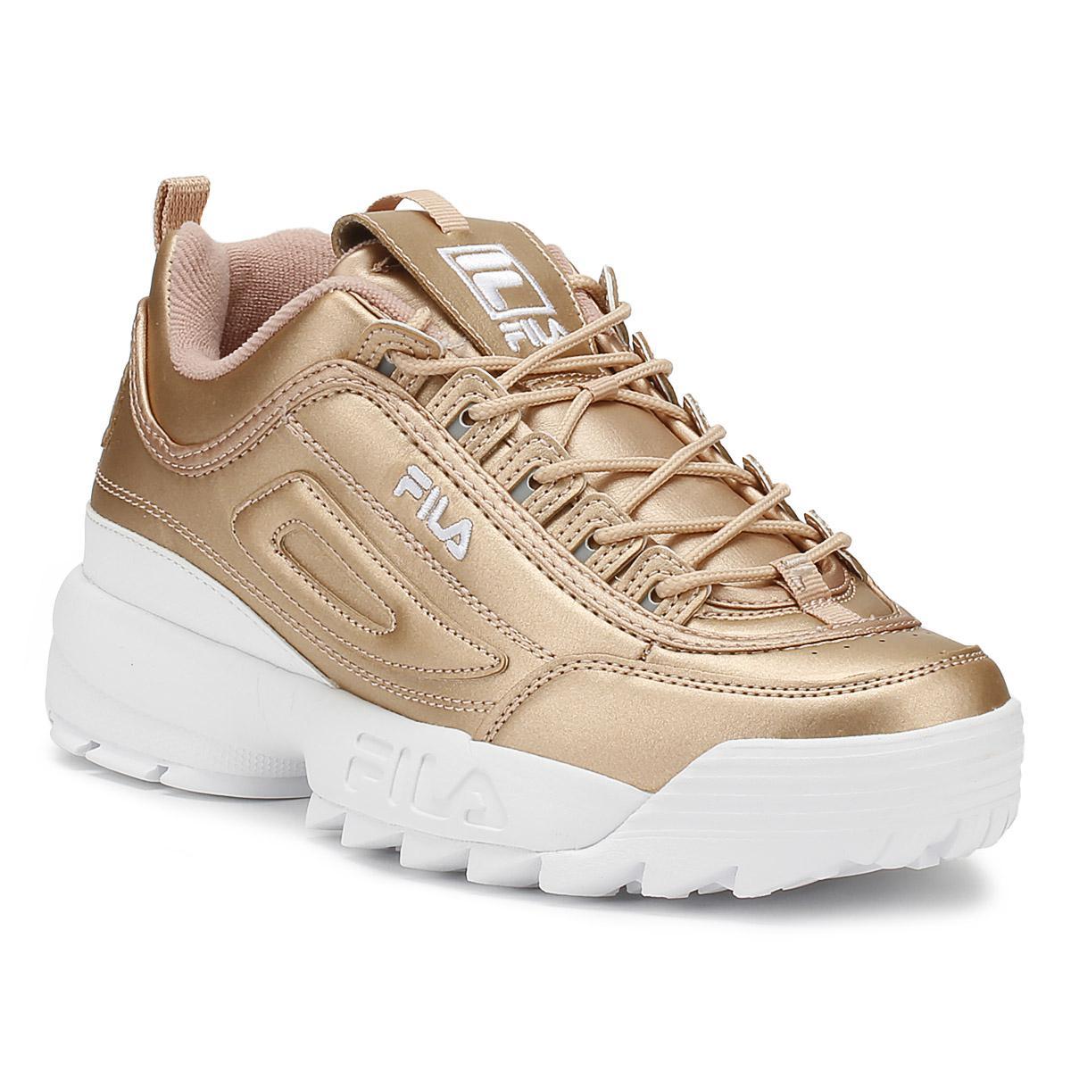 Fila Disruptor Ii Womens Metallic Rose Gold Premium Trainers