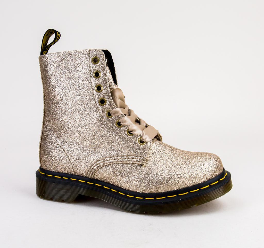 e2be21435329 Dr. Martens. Women's Dr Martens 1460 Pascal Glitter 24320714 Pale Gold Glitter  Pu Boots