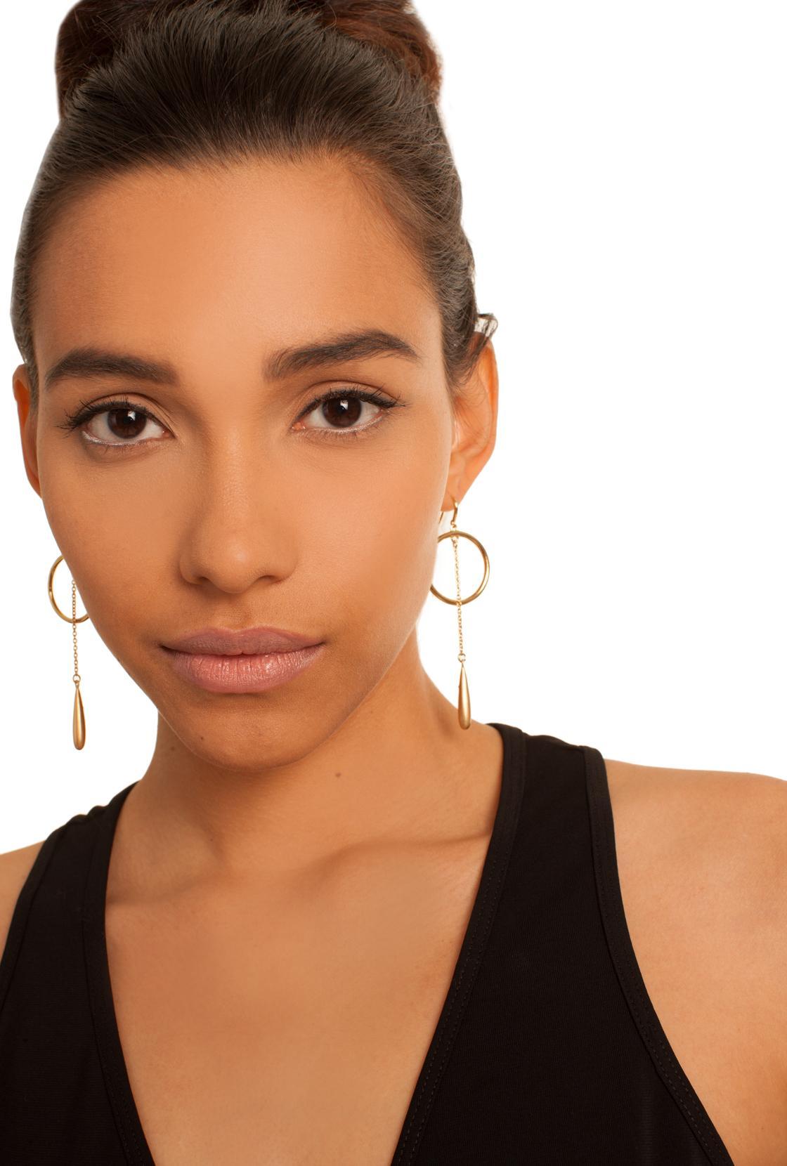 Trina Turk Gold Rush Teardrop Hoop Earring in Metallic
