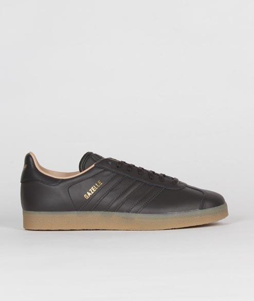 adidas Black Gum Gold Leather Originals Gazelle Shoes for Men - Lyst