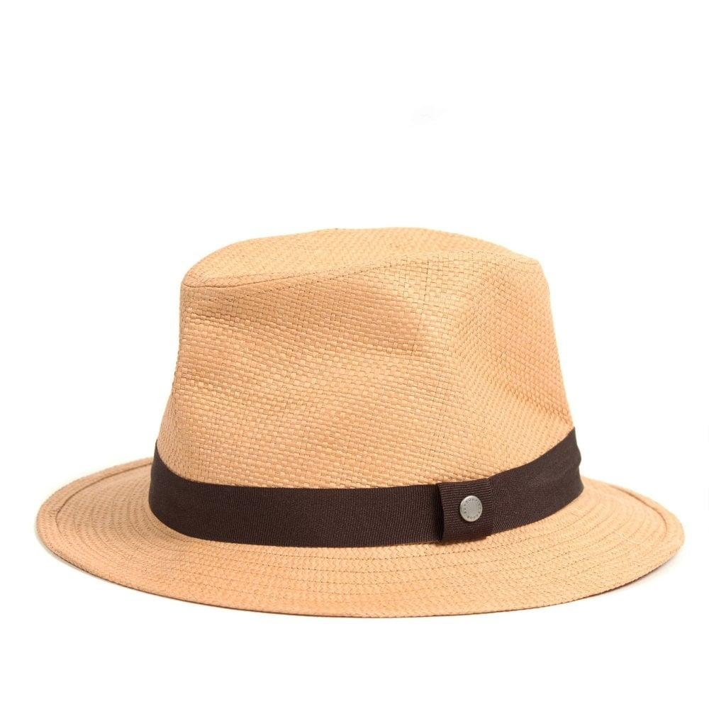 1273e685 Barbour. Men's Natural Paper And Cotton Tattersall Emblem Trilby Hat