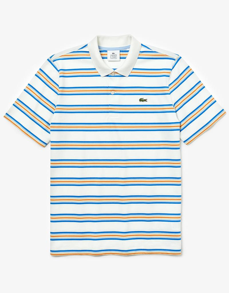 992f8bfe70 Lacoste Cotton Regular Fit Striped Polo Shirt in Blue for Men - Lyst