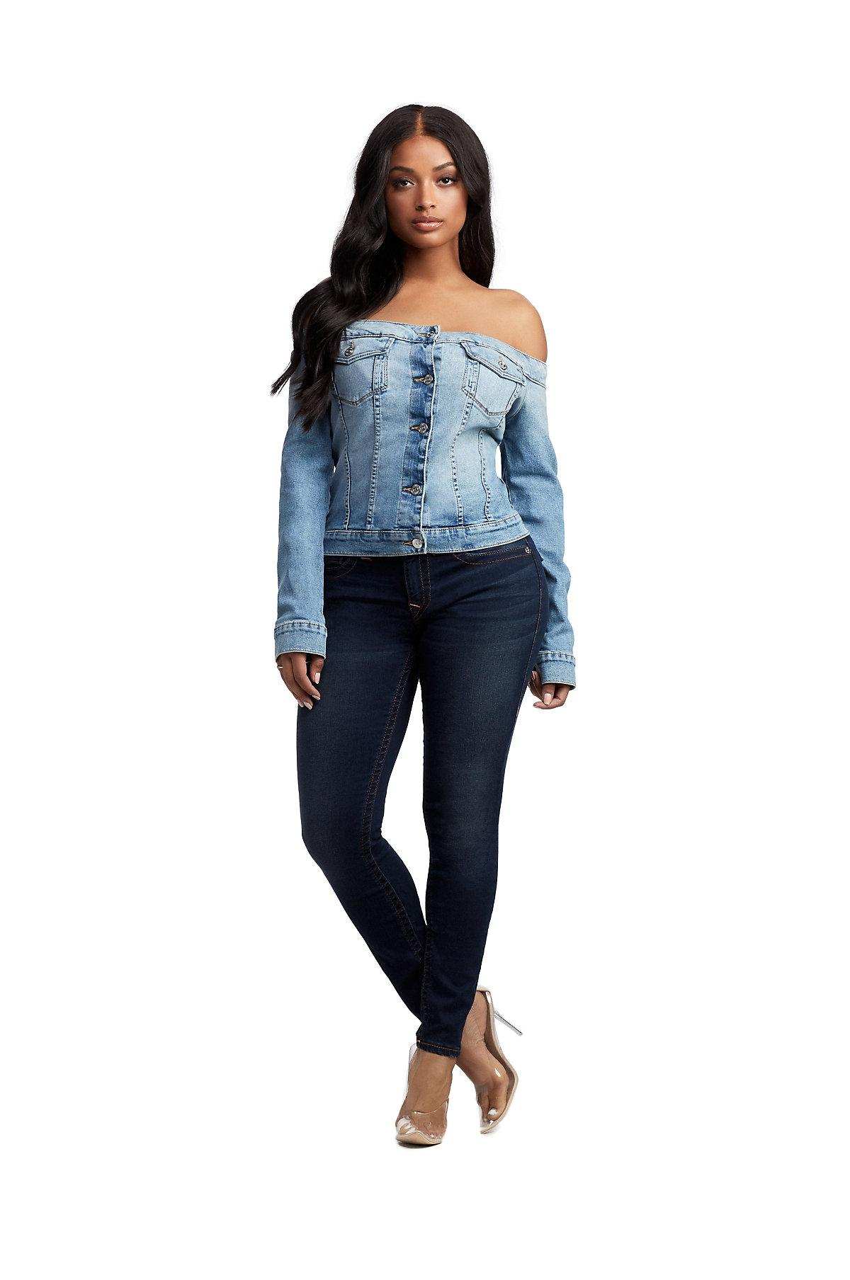 160e40de3 True Religion Blue Off Shoulder Denim Jacket Top