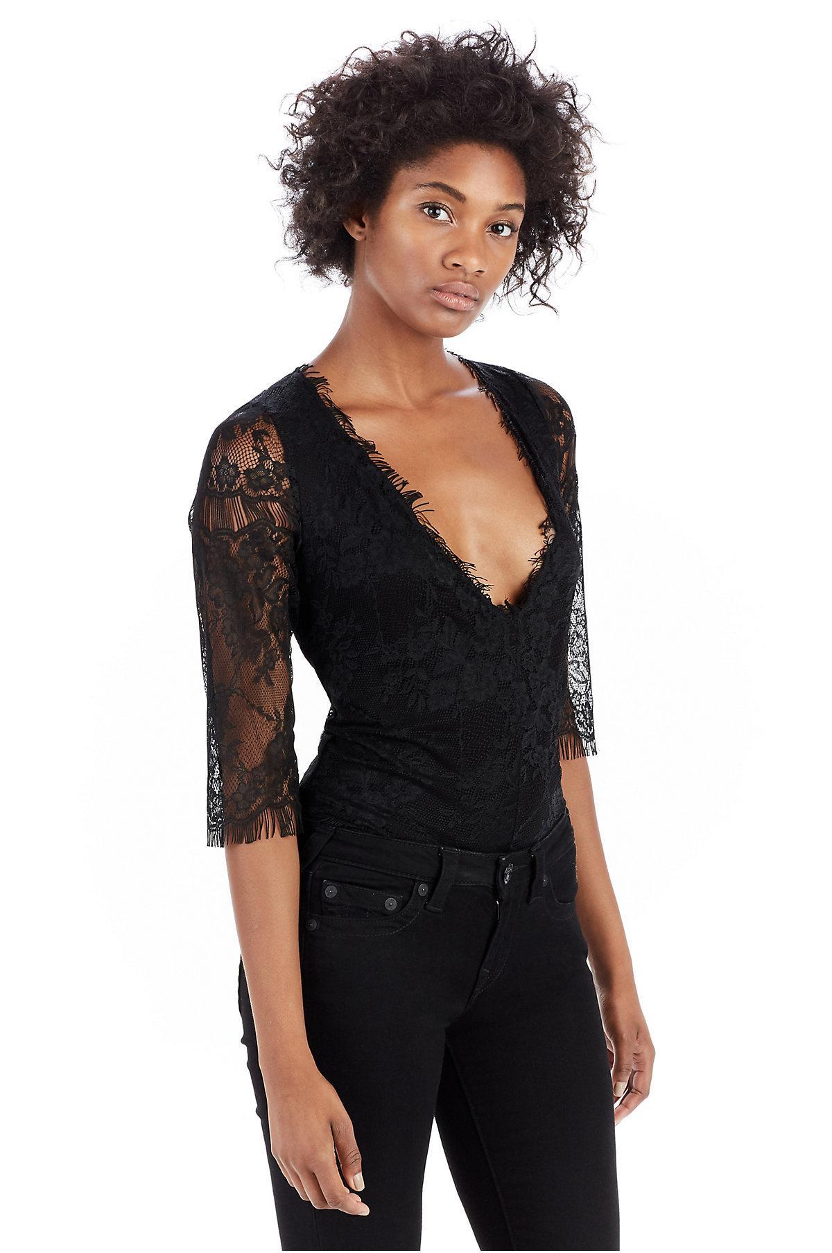 7587e0d5c0 Lyst - True Religion Deep V Bodysuit in Black