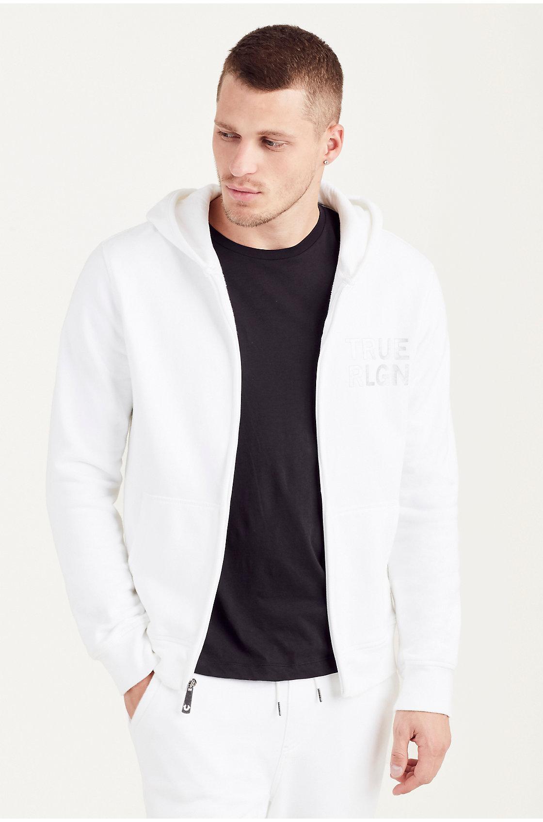 True Religion Drippy Horseshoe Mens Hoodie In White For